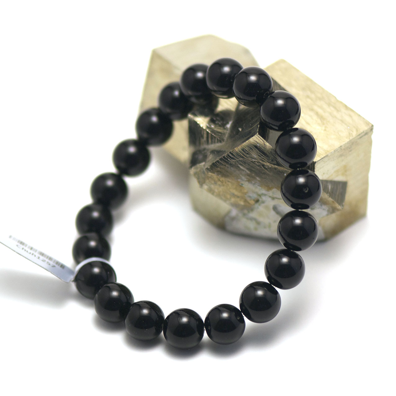 bracelet Onyx ,  perle ronde 10 mm