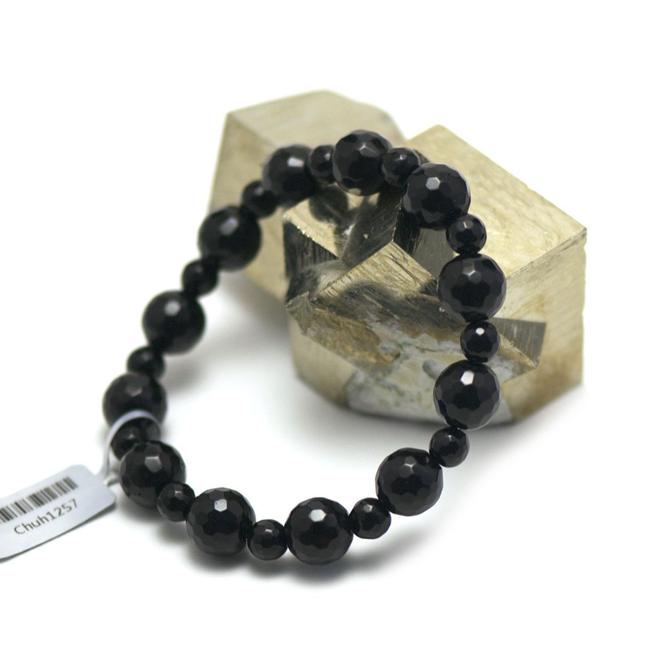 Bracelet onyx ,  perle ronde facettée 10-6 mm