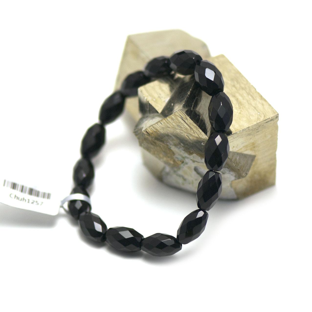 bracelet onyx ,  perle olive facettée