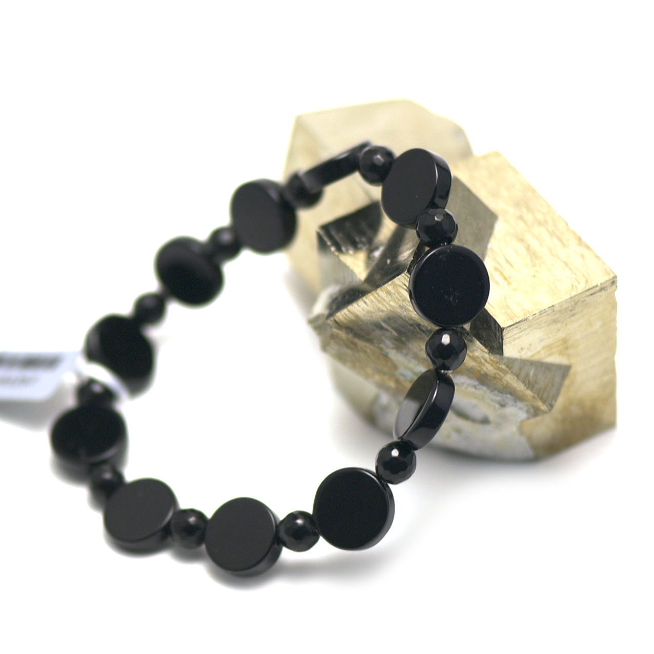 Bracelet onyx ,  perle palet rond - perle ronde facettée