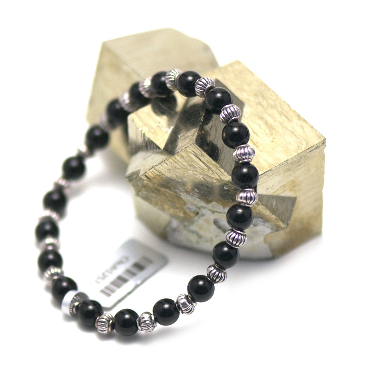bracelet onyx ,  perle ronde 6 mm - perle argentée