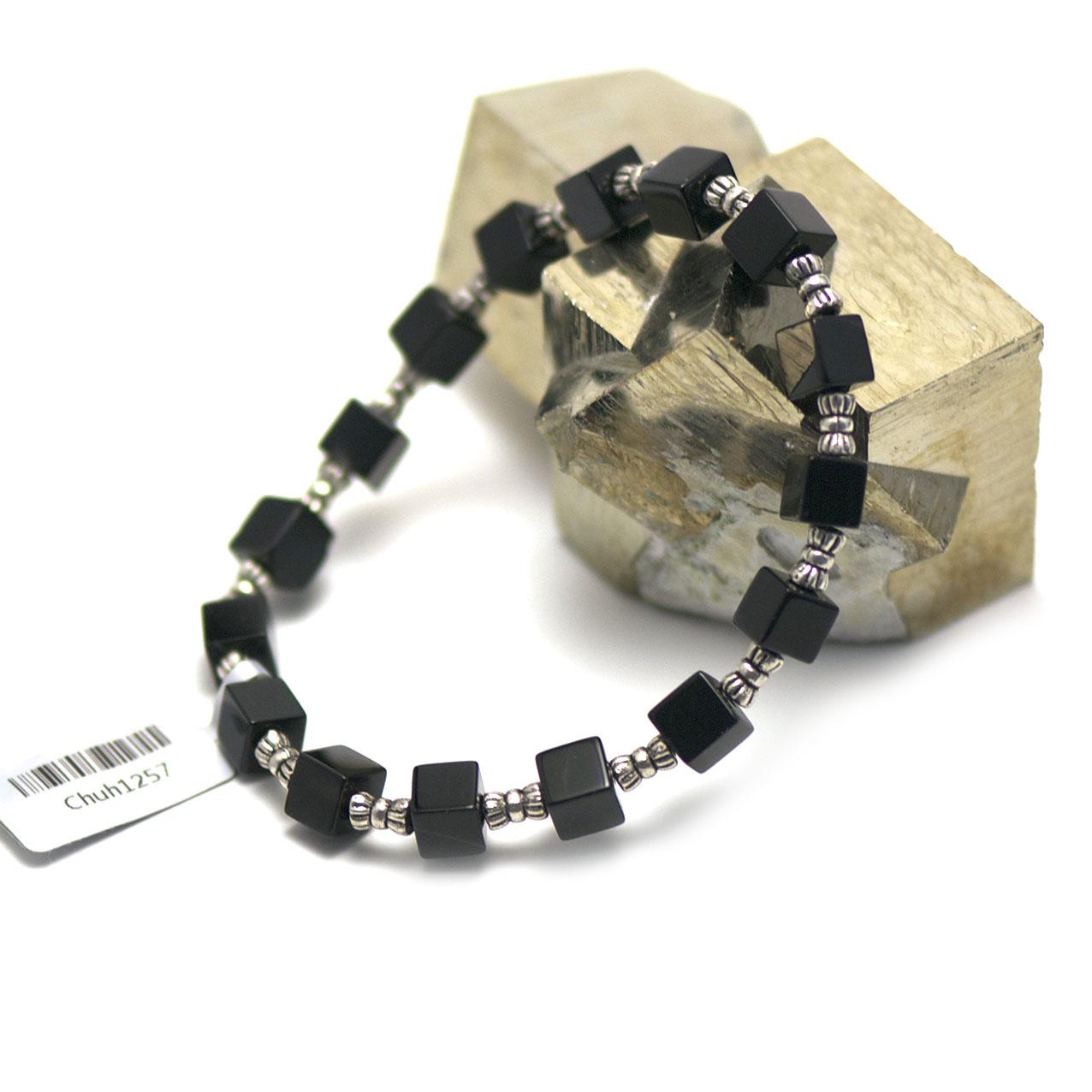 bracelet onyx , perle cube - perle argentée