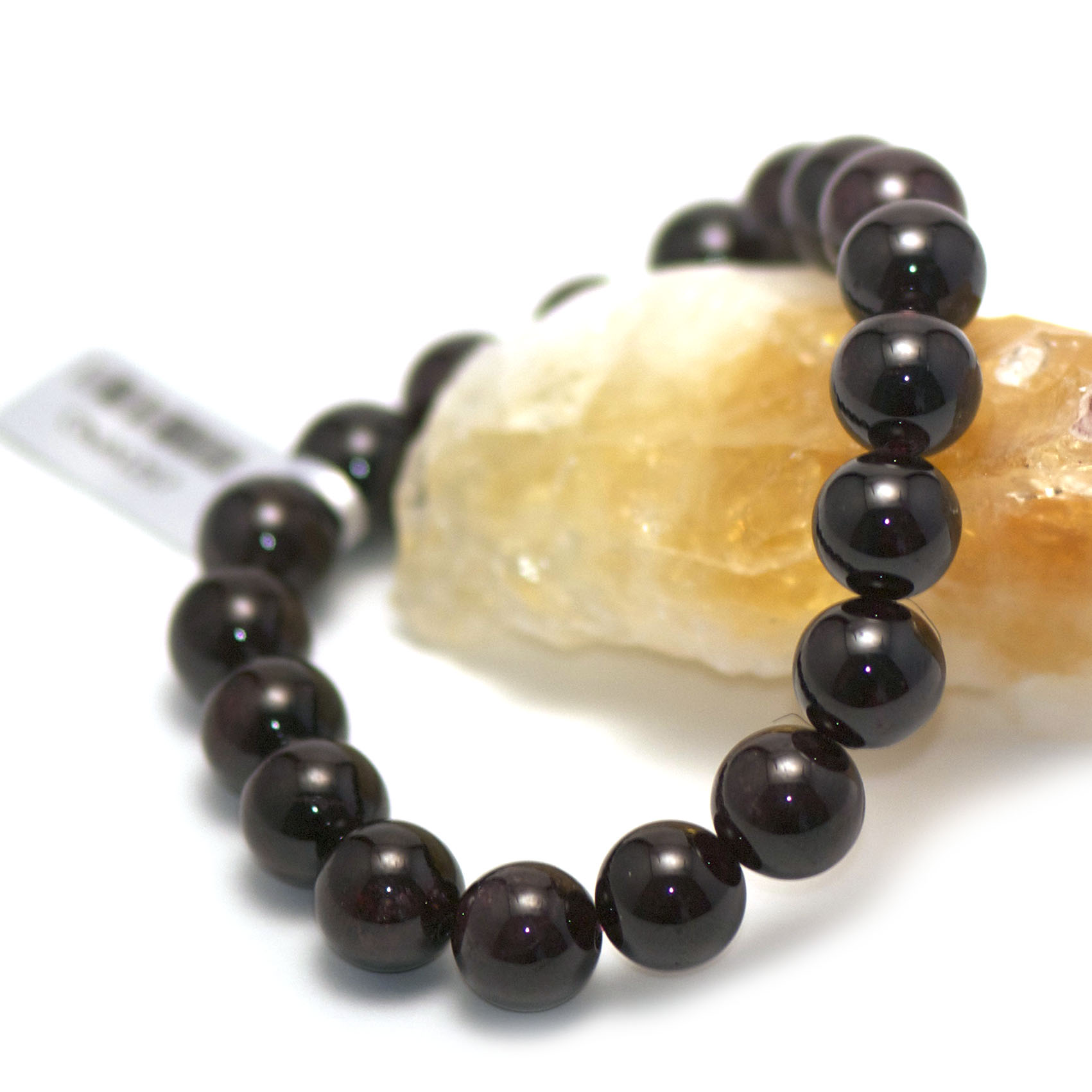bracelet grenat ,  perle ronde 10 mm