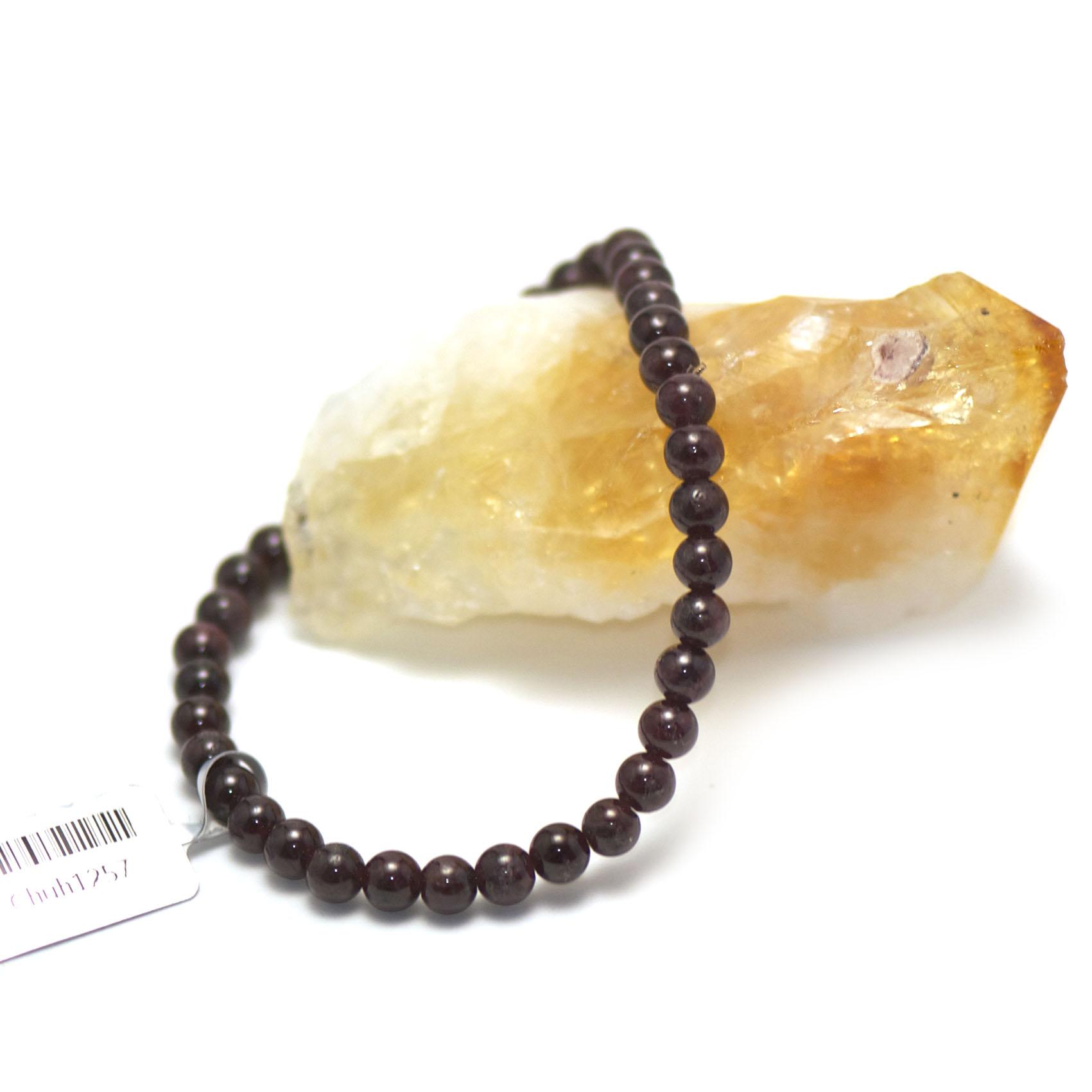 Bracelet  grenat , perle ronde 6 mm
