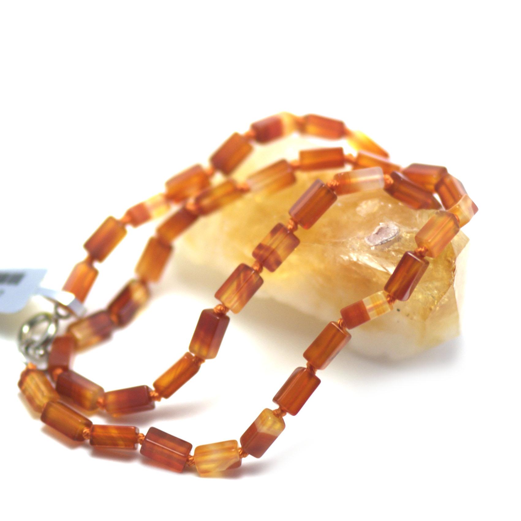 collier cornaline,  perle rectangle - tube