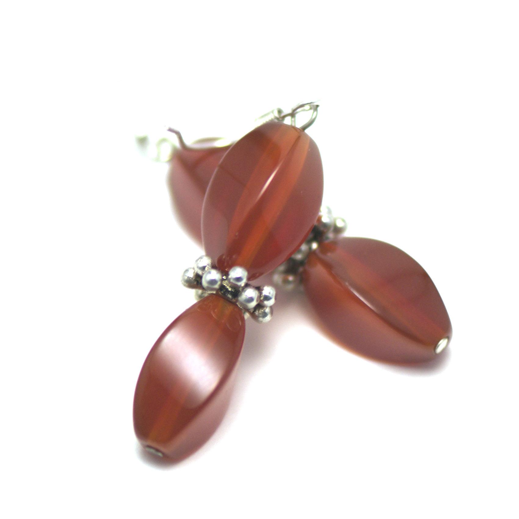 boucle d\'oreille cornaline , perle rectangle torsadée - perle argenté
