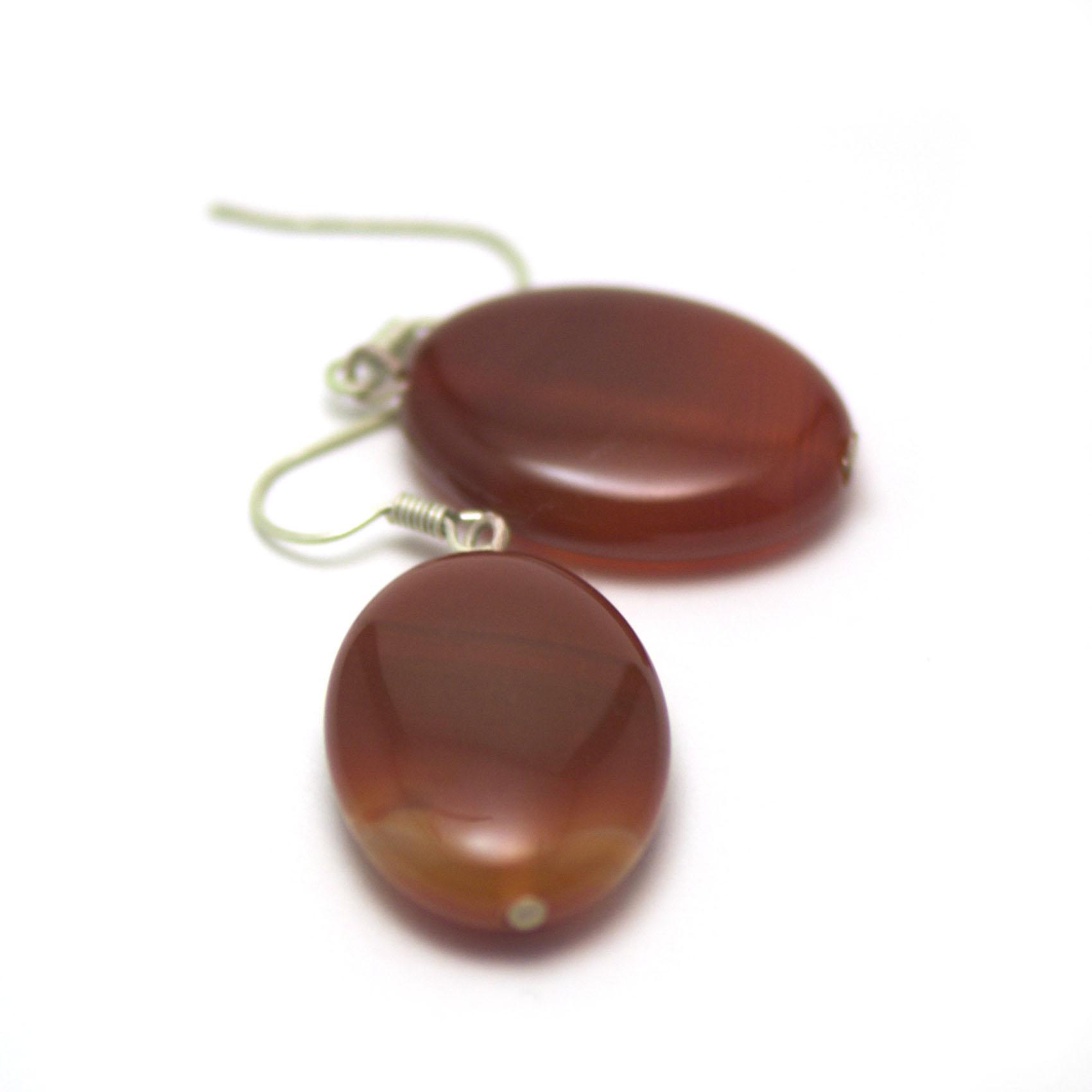 boucle d\'oreille cornaline ,  perle palet oval