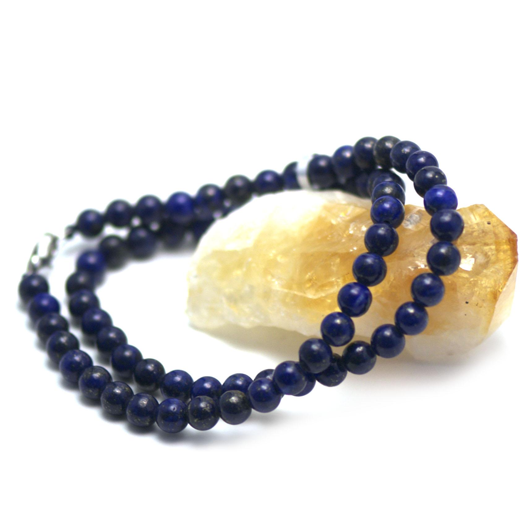 Collier lapis lazuli , perle ronde 6 mm