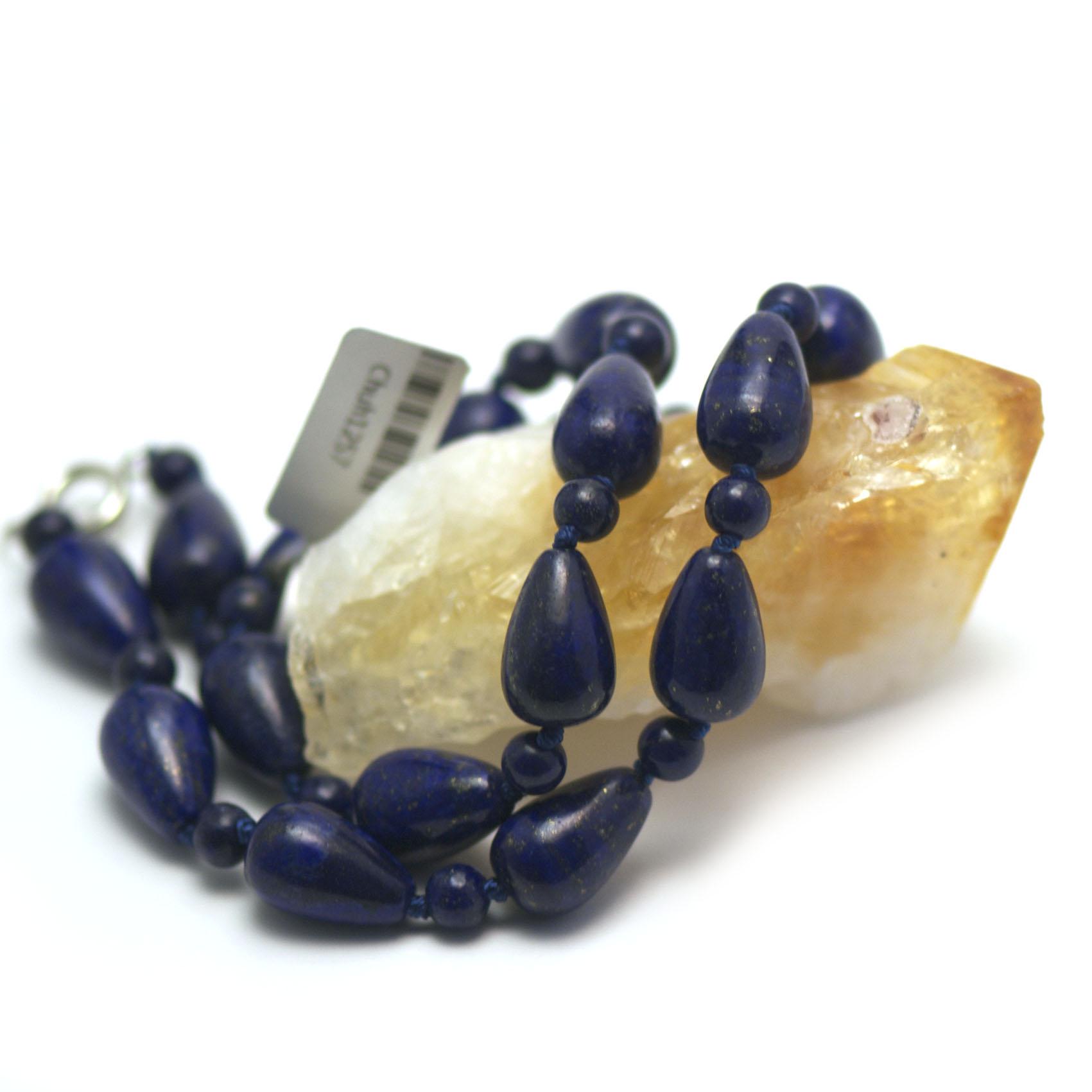 collier lapis lazuli ,  goutte d\'eau - perle ronde 6 mm