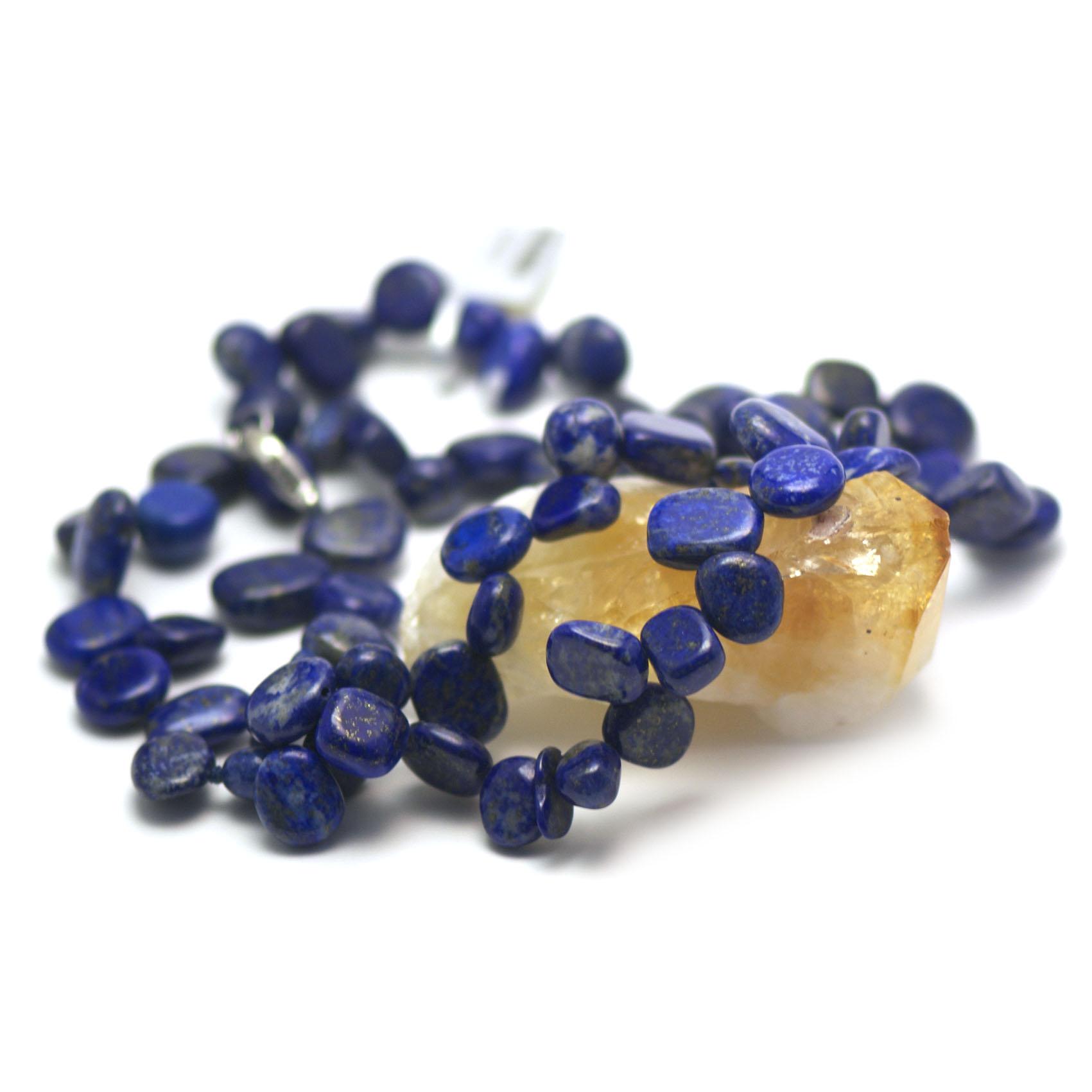 collier  lapis lazuli ,  perle TS baroque