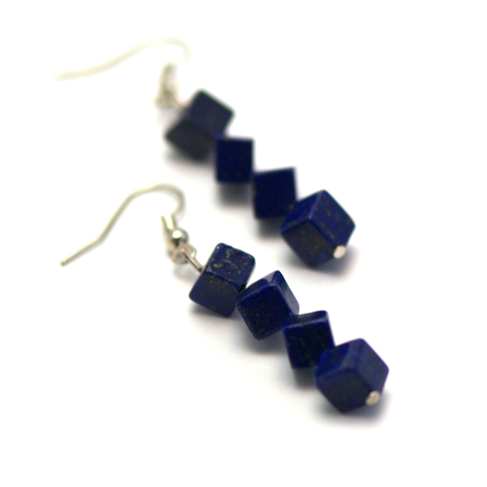boucle d\'oreille lapis lazuli ,  quadruple cube diagonale