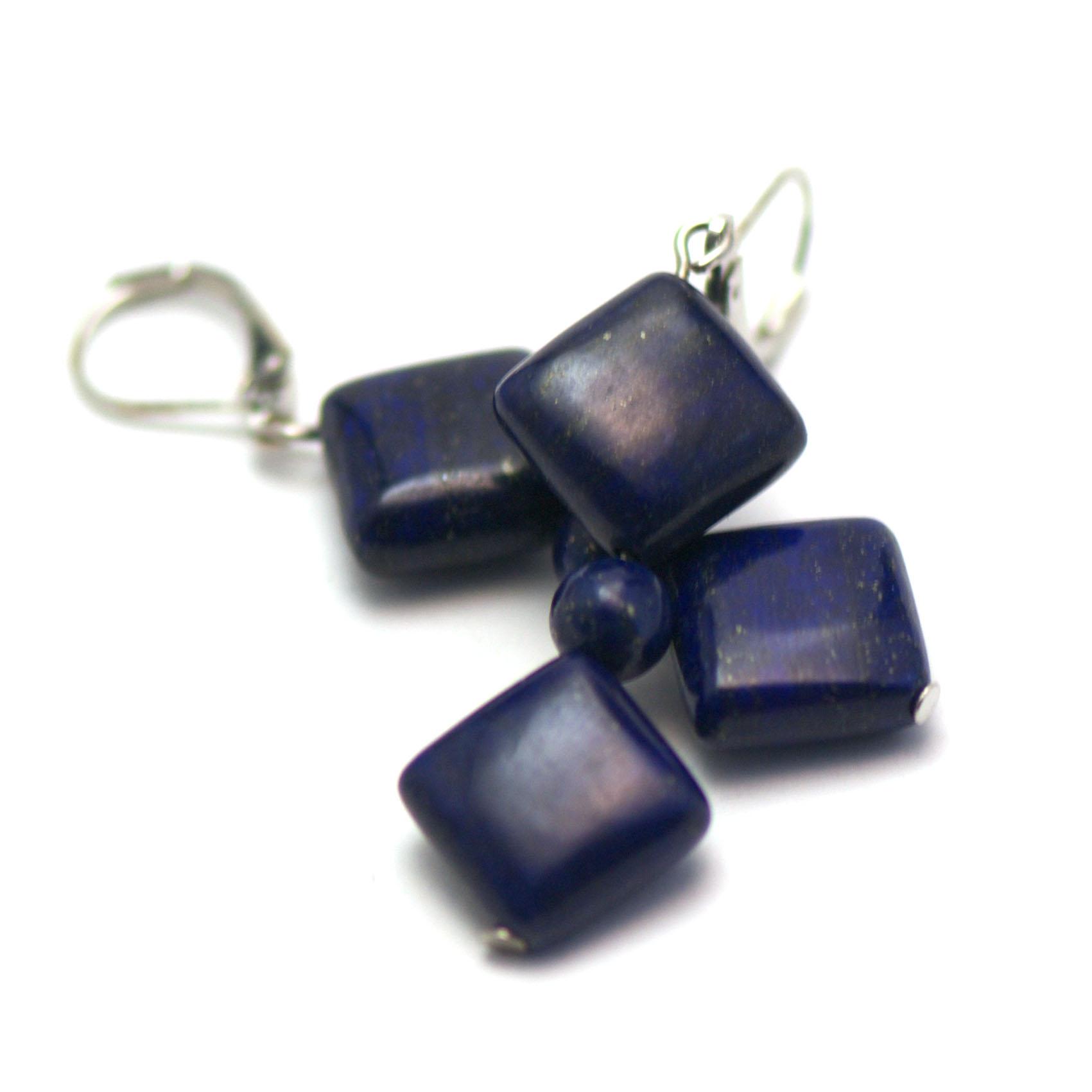 boucle d\'oreille lapis lazuli ,  double carrées-perle ronde 6 mm