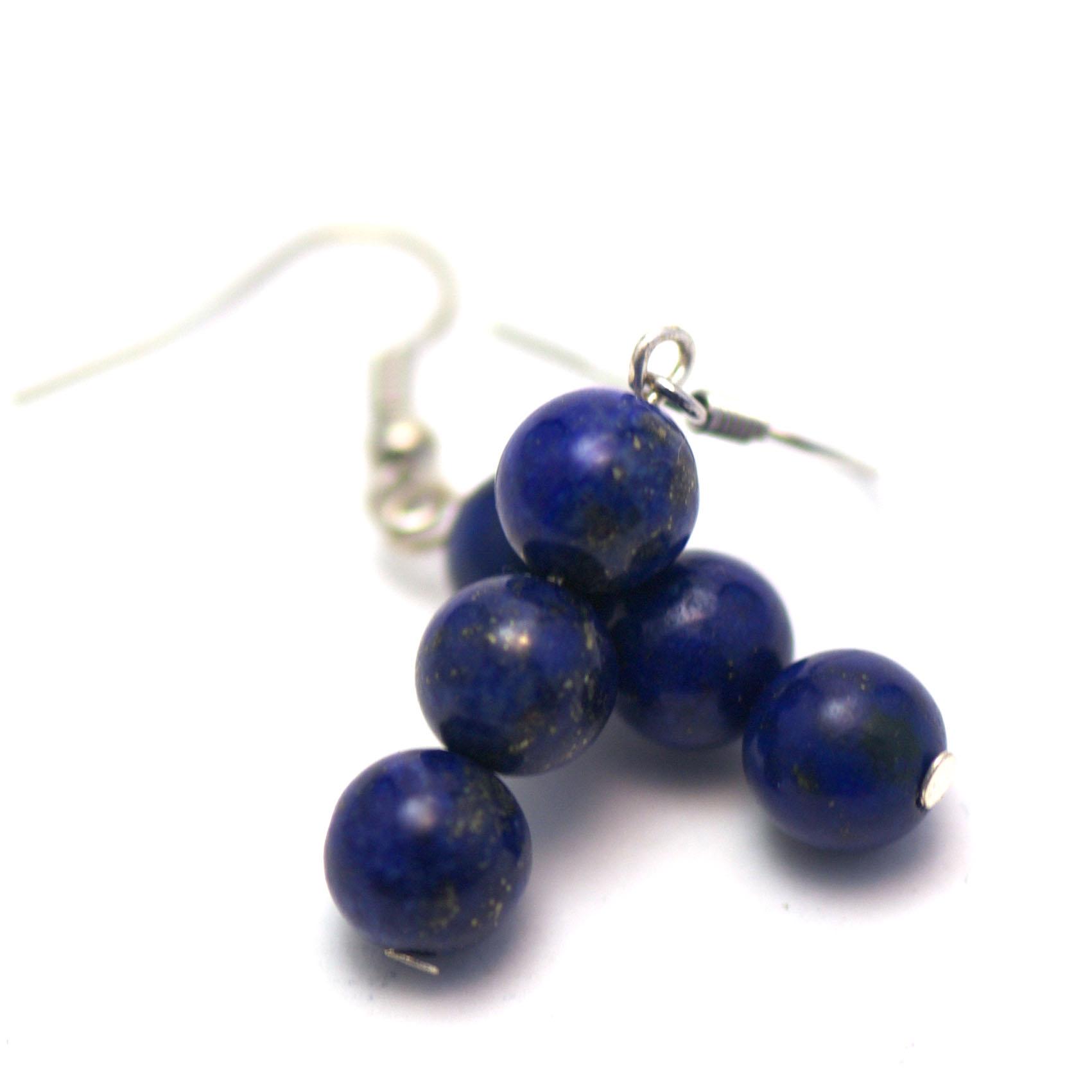 boucle d\'oreille lapis lazuli ,  triple rondes 8 mm