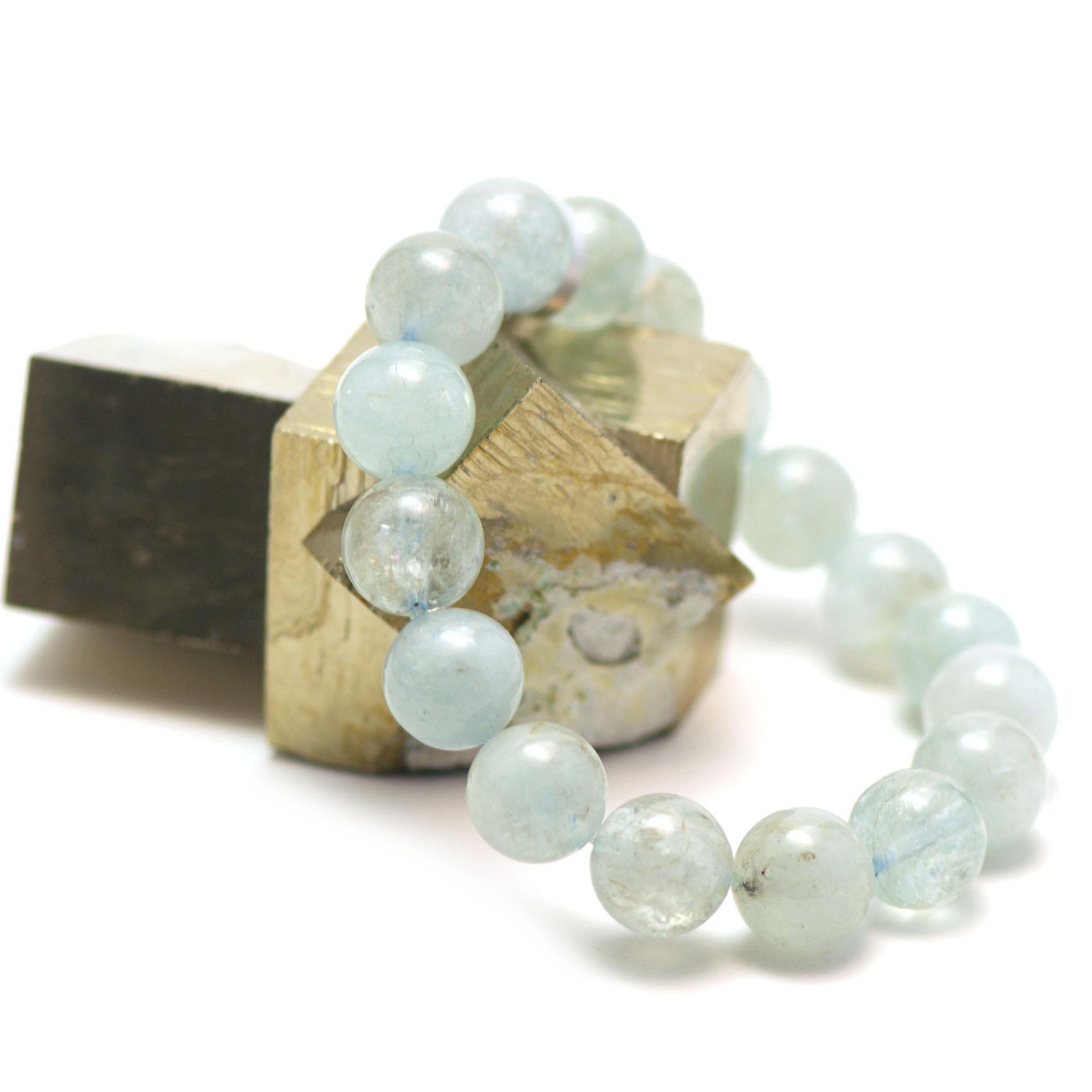 Bracelet aigue marine ,   perle ronde 12 mm