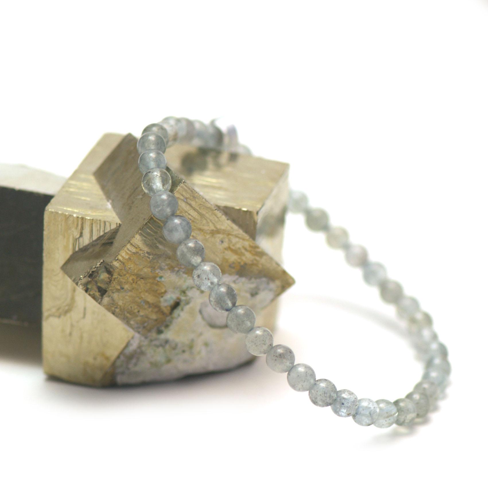 bracelet aigue-marine, perle ronde 5 mm