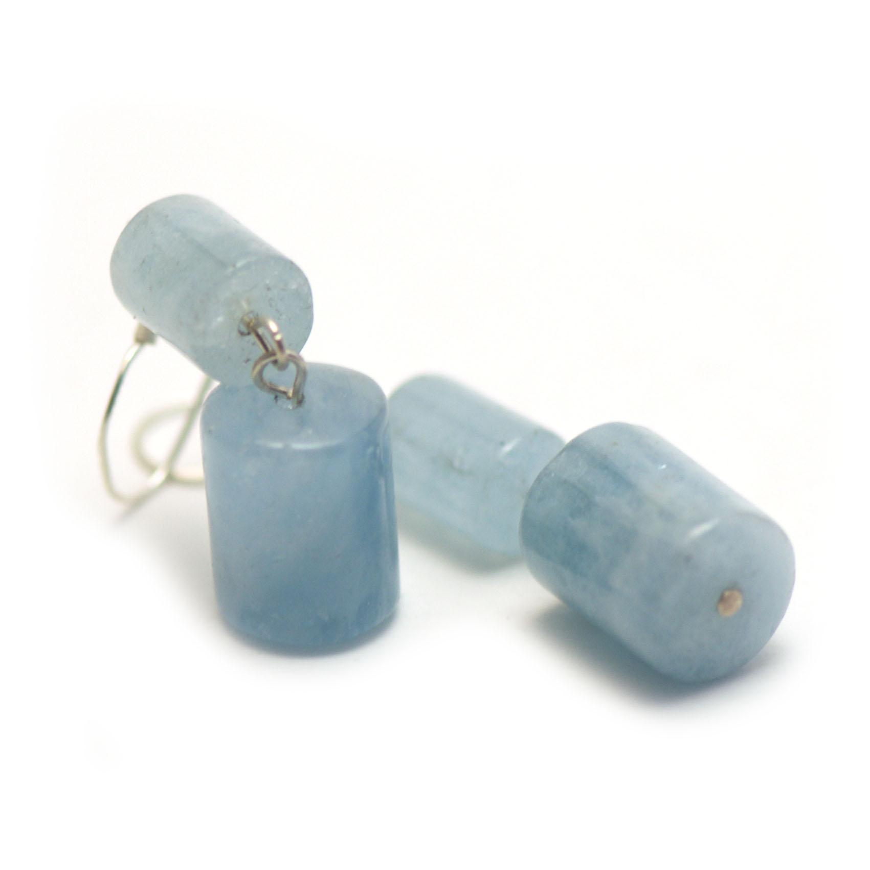 boucle d\'oreille aigue-marine,petite - grande cylindre