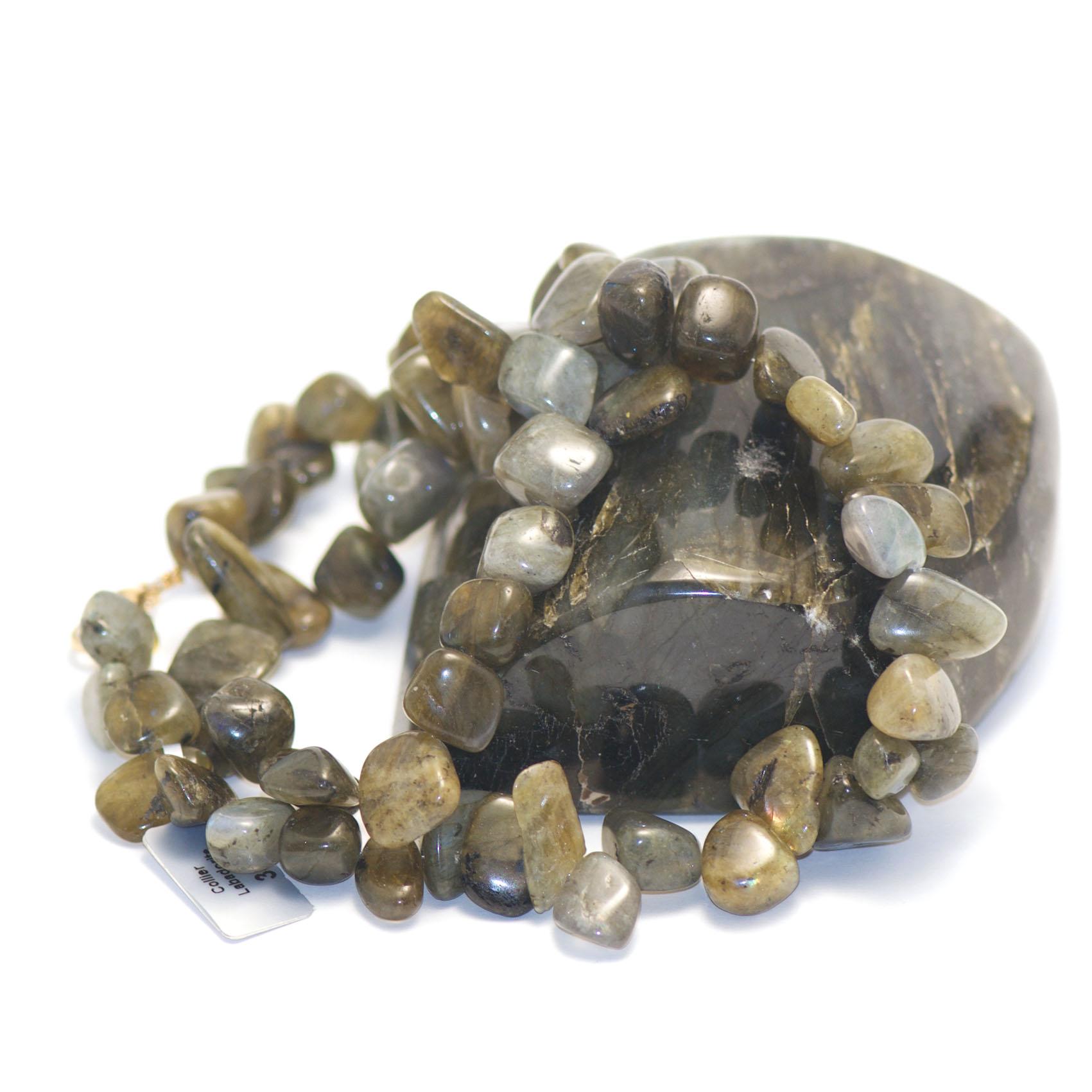 collier labradorite ,  perle TS baroque