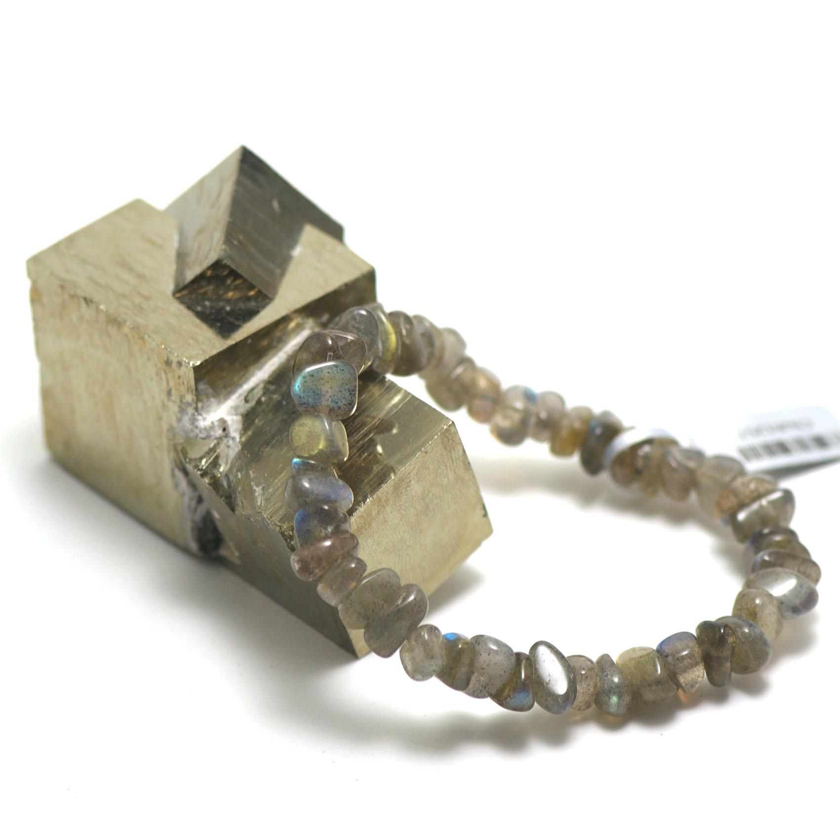 bracelet pierre naturelle  labradorite ,  petits chips