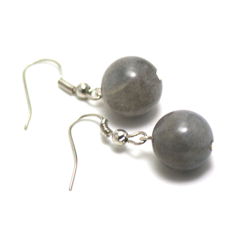 boucle d\'oreille labradorite ,  perle ronde 12 mm