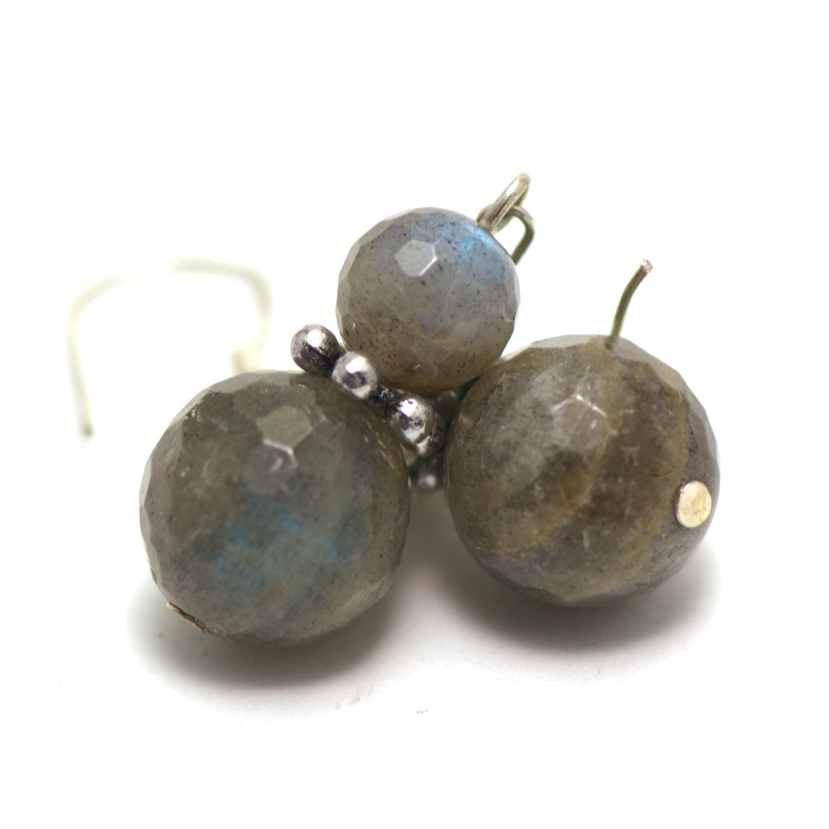 boucle d\'oreille labradorite ,  perles facettées rondes 12 mm - 8 mm