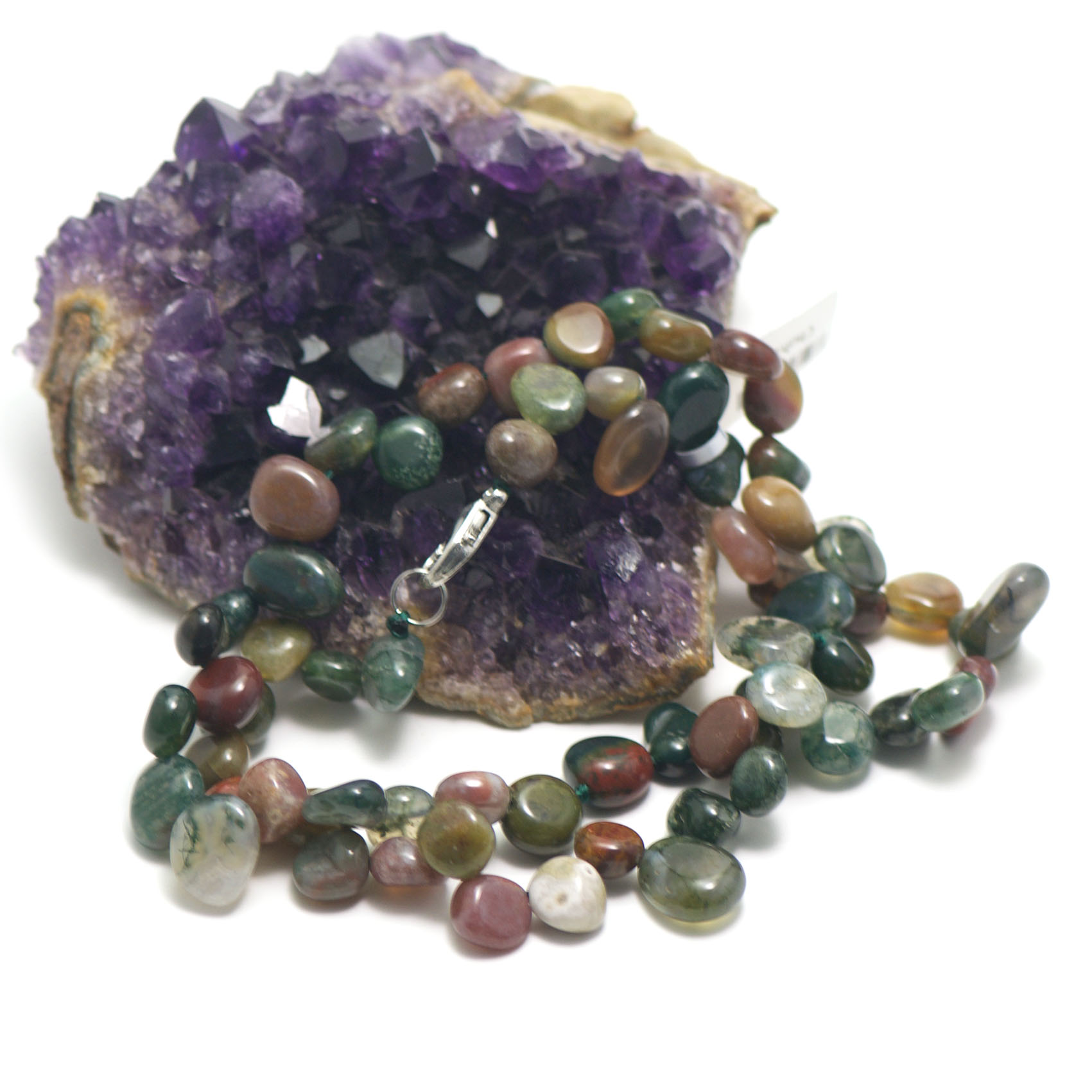 collier agate mousse ,  perle Ts baroque