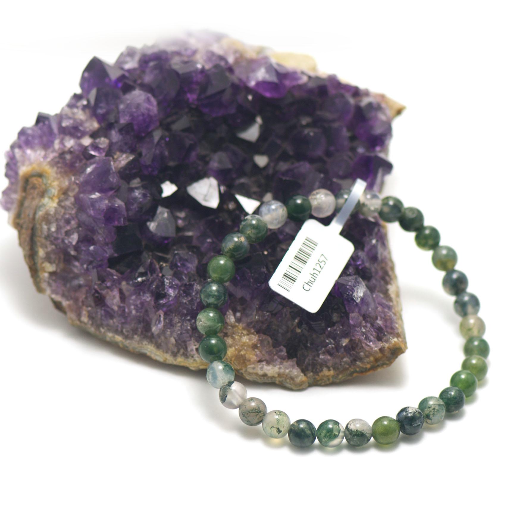 bracelet agate mousse ,  perle ronde 6 mm