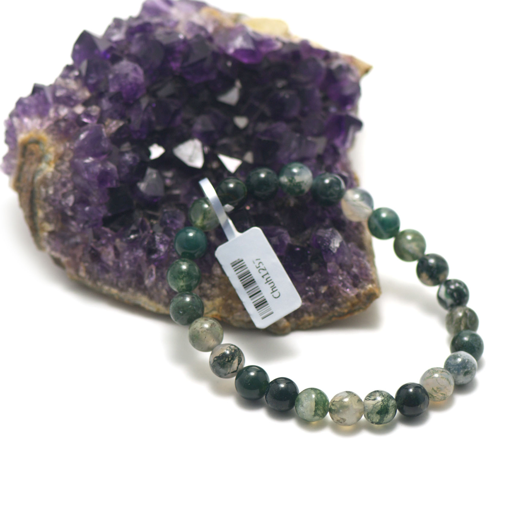 bracelet agate mousse , perle ronde 8 mm