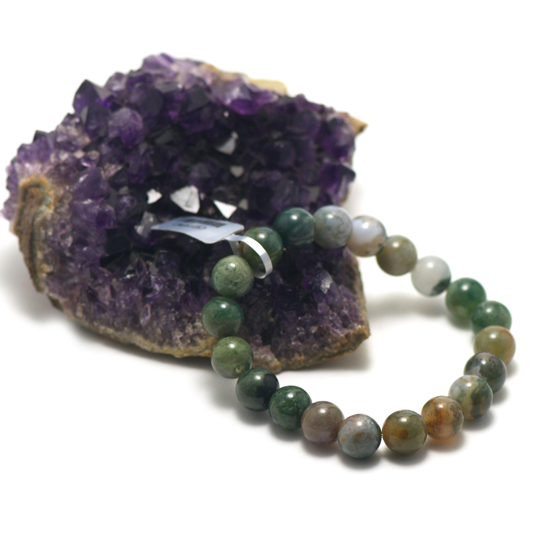 bracelet agate mousse ,  perle ronde 10 mm
