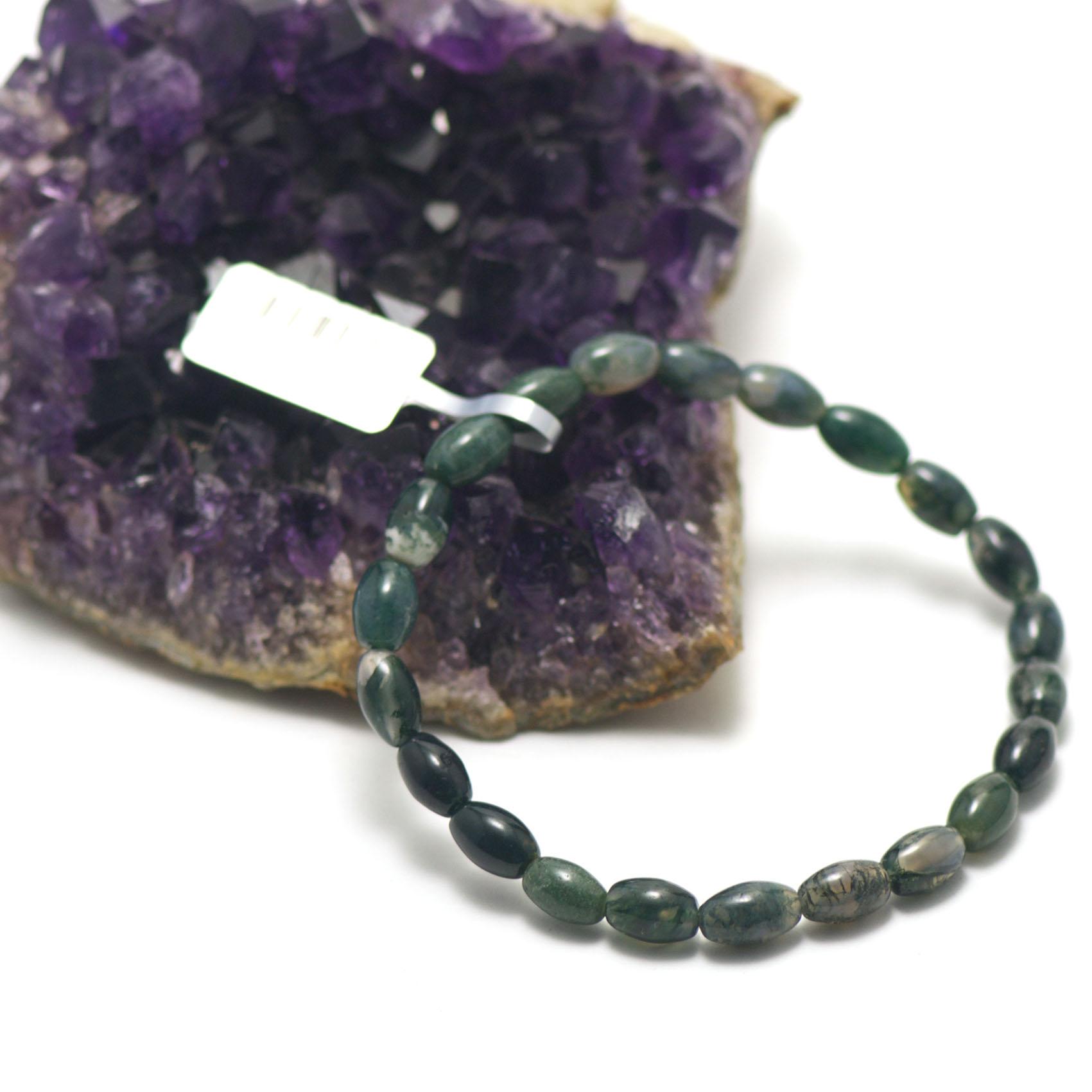 bracelet agate mousse ,   perle grain de riz