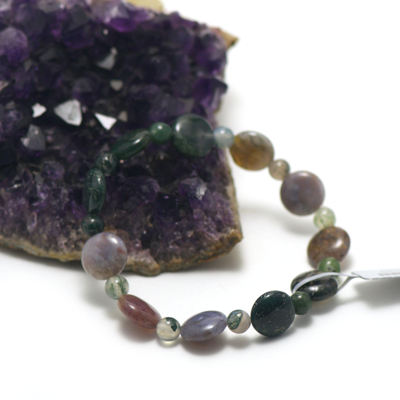 bracelet agate mousse ,  palet rond - ronde 6 mm