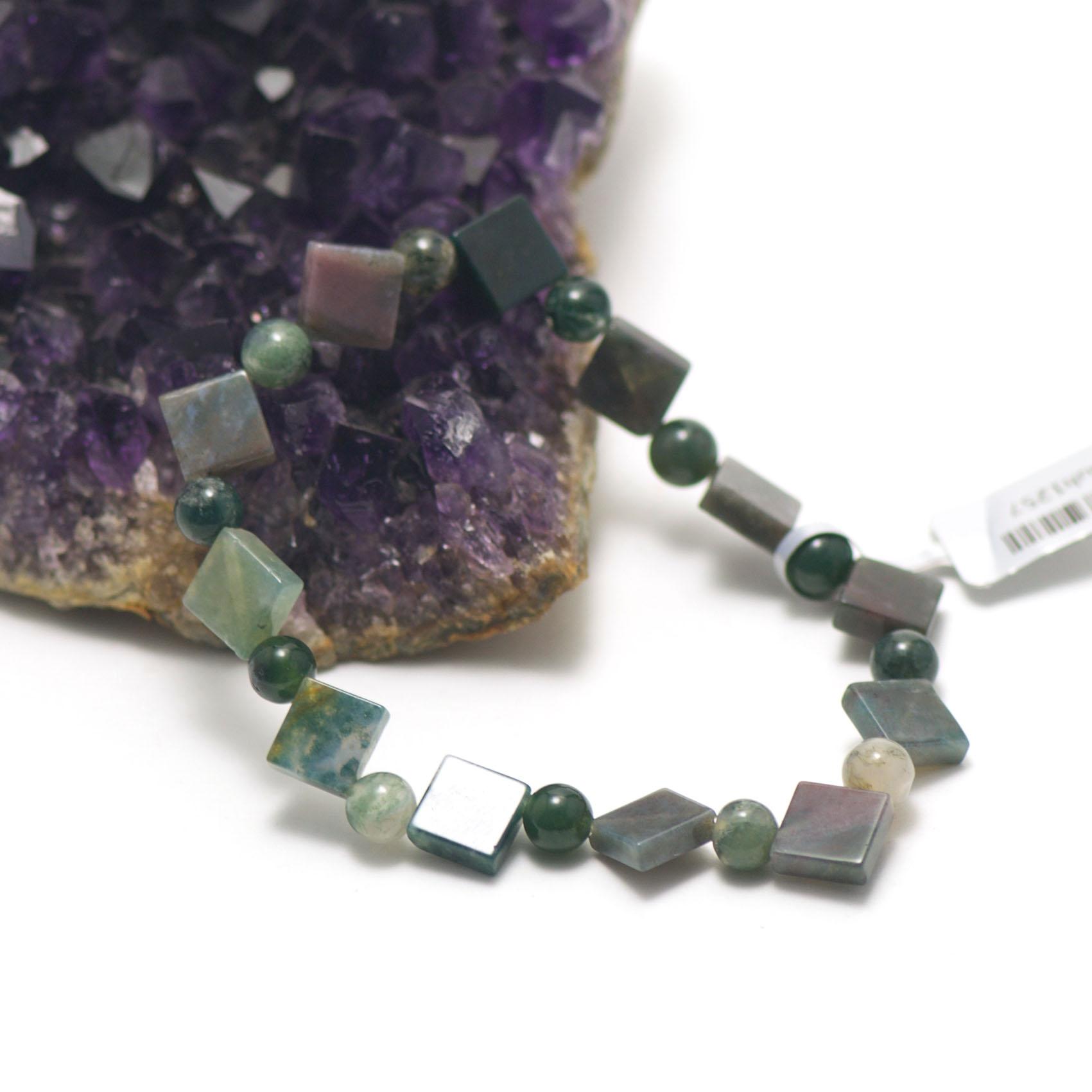 F carrée - perle ronde de riz bracelet en pierre naturelle d'agate mousse