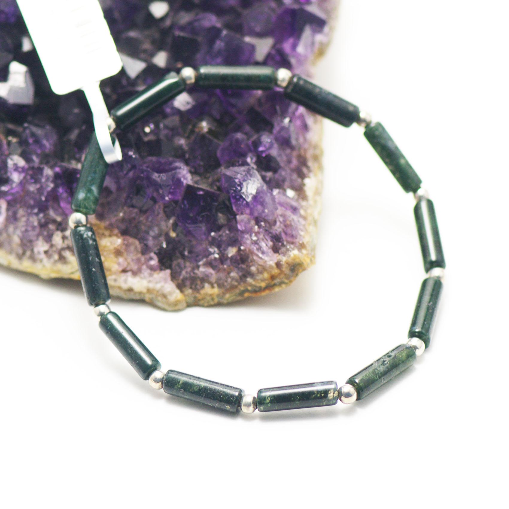 bracelet agate mousse , mini tube - perle argentée