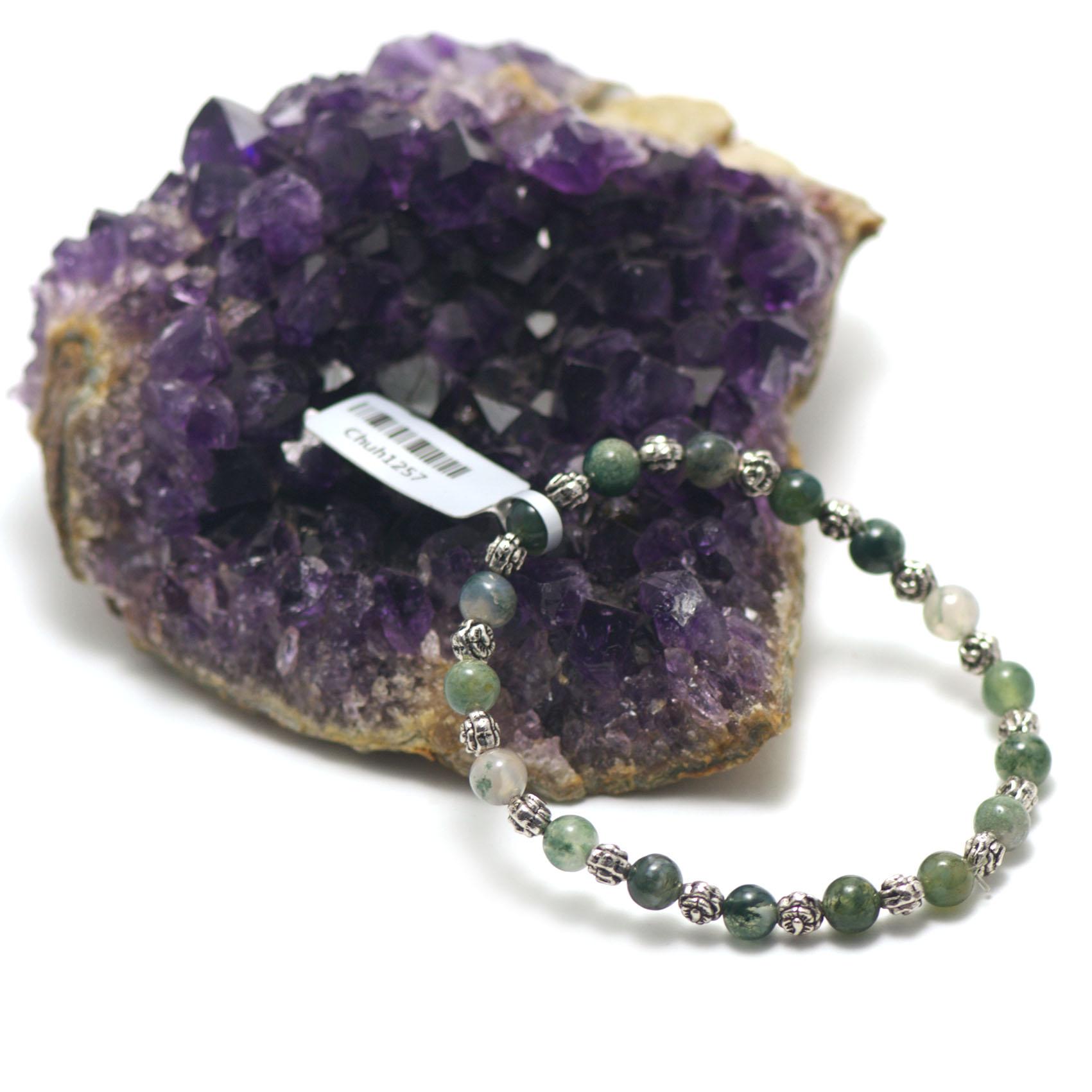 bracelet agate mousse ,  trois coeurs - perles argentées tube