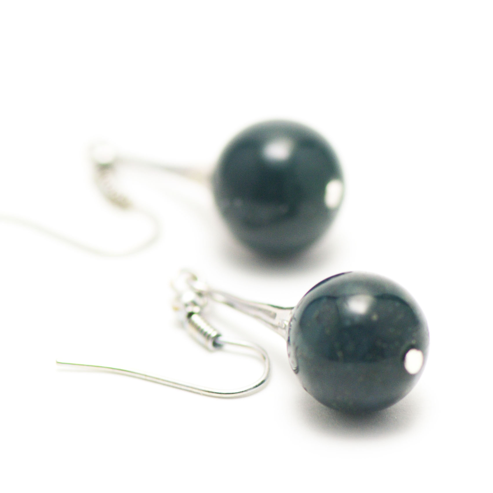 boucle d\'oreille agate mousse ,  lustre - perle ronde 12 mm