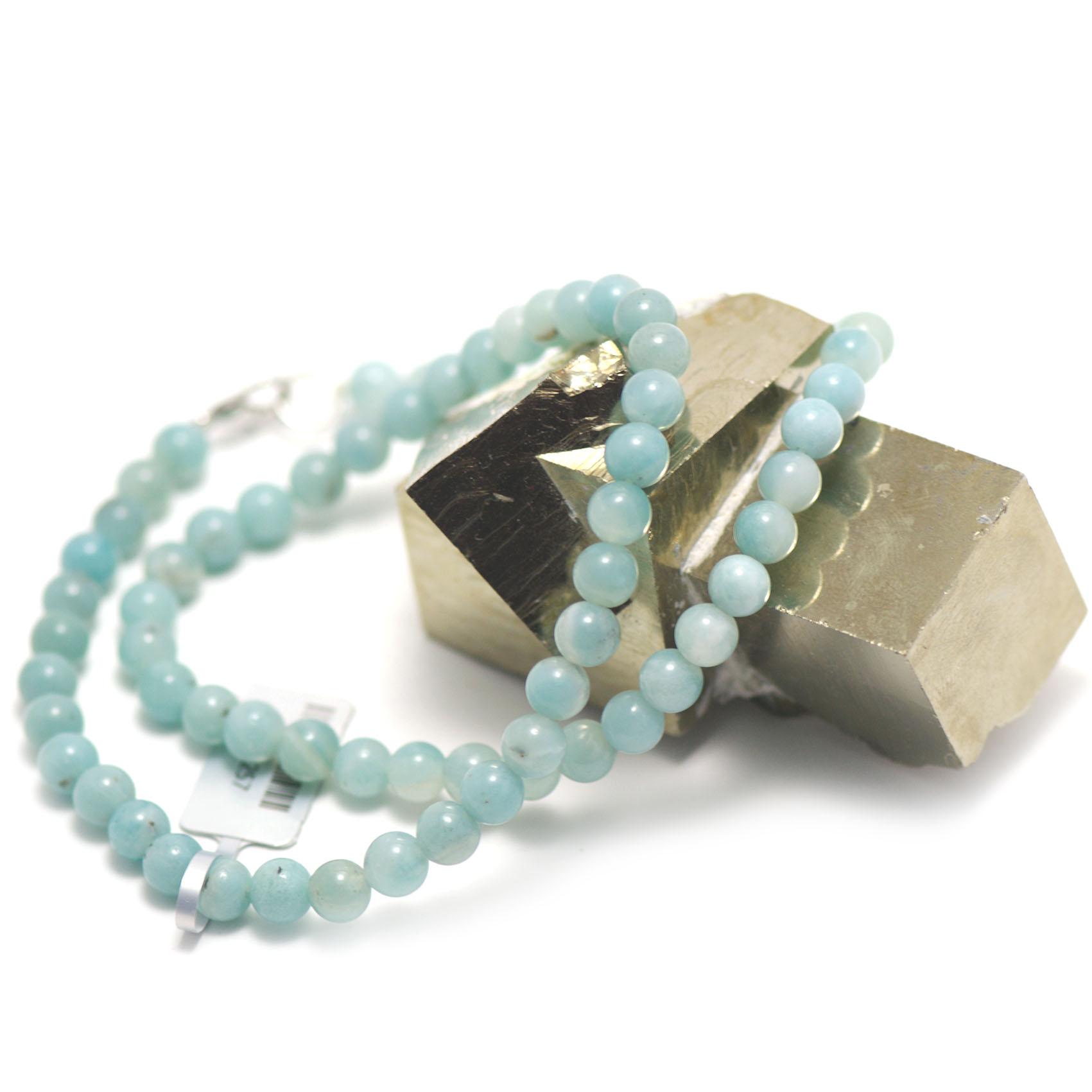 collier amazonite ,  perle ronde 6 mm