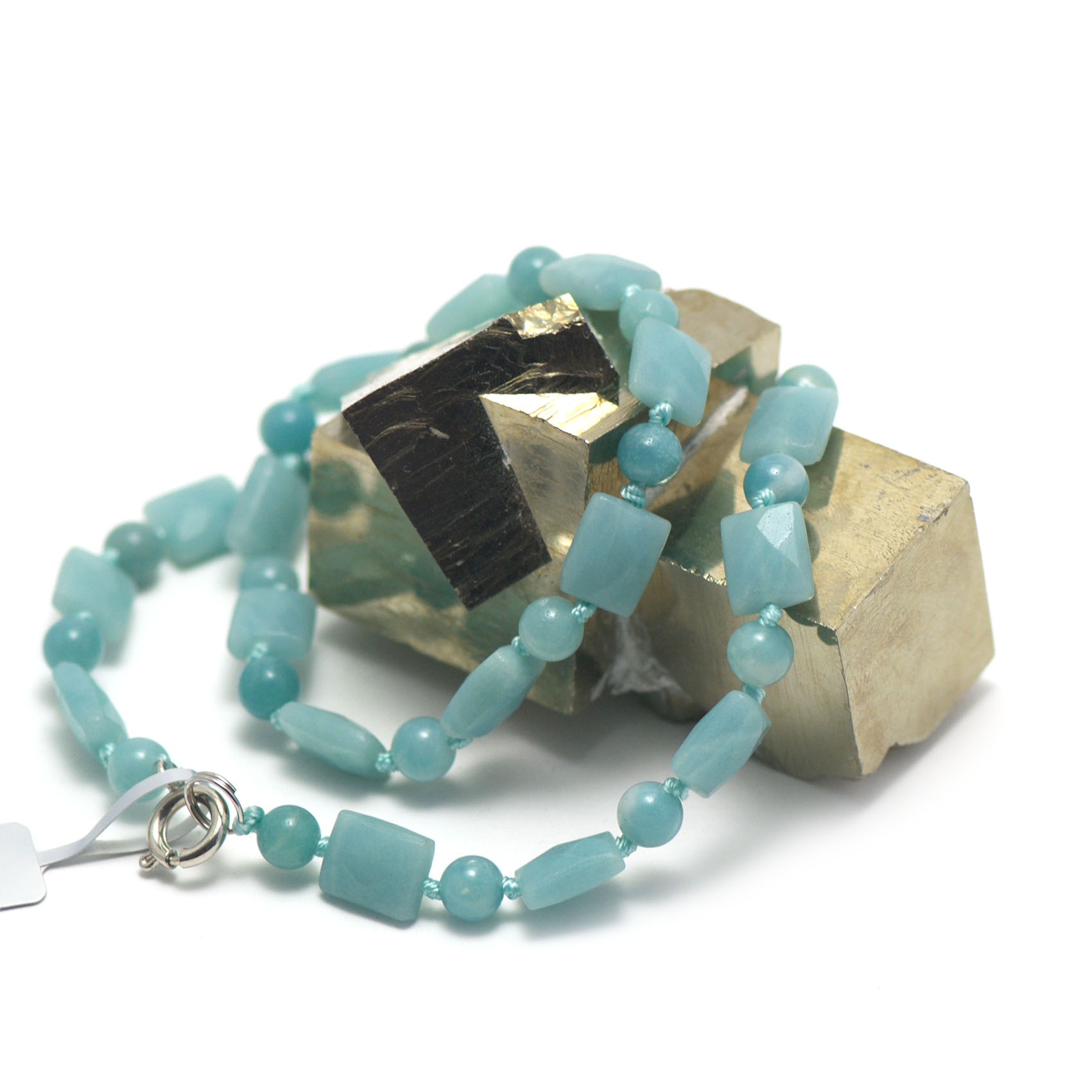 collier amazonite ,  rectangle facettée - ronde 6 mm