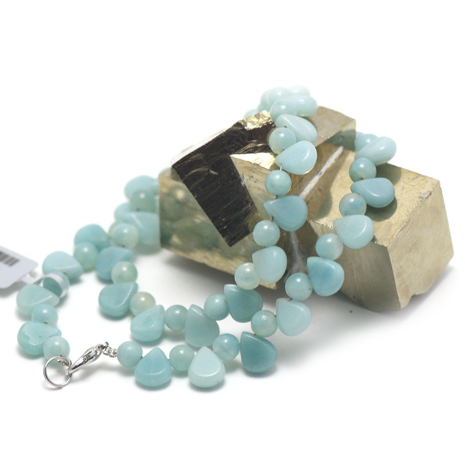 collier amazonite ,  goutte d\'eau horizontale - perle ronde 6 mm