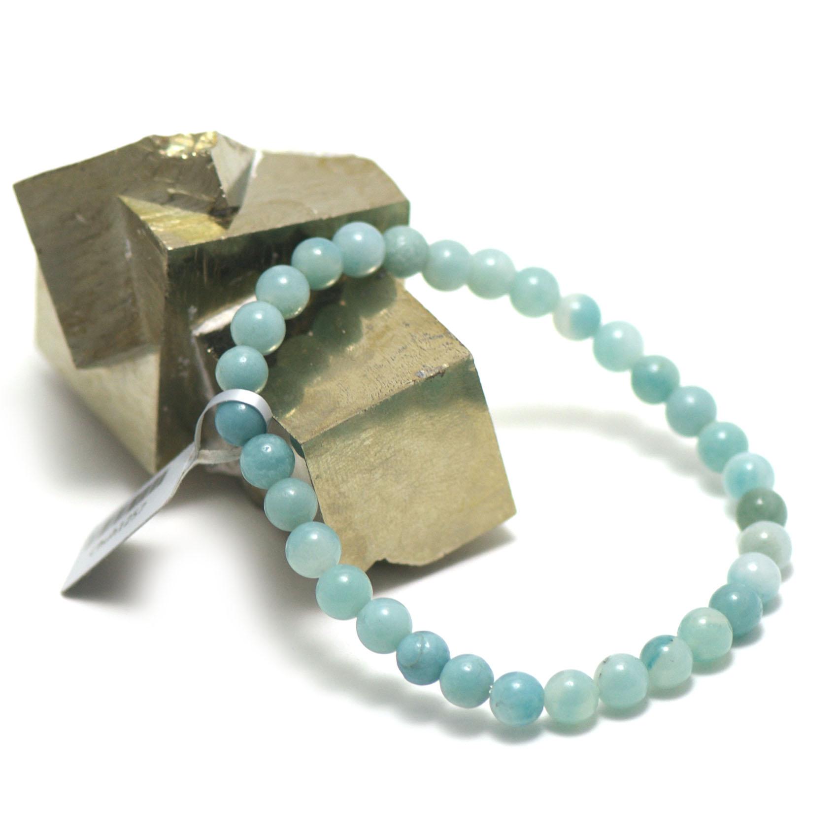 Bracelet amazonite ,  perle ronde 6 mm