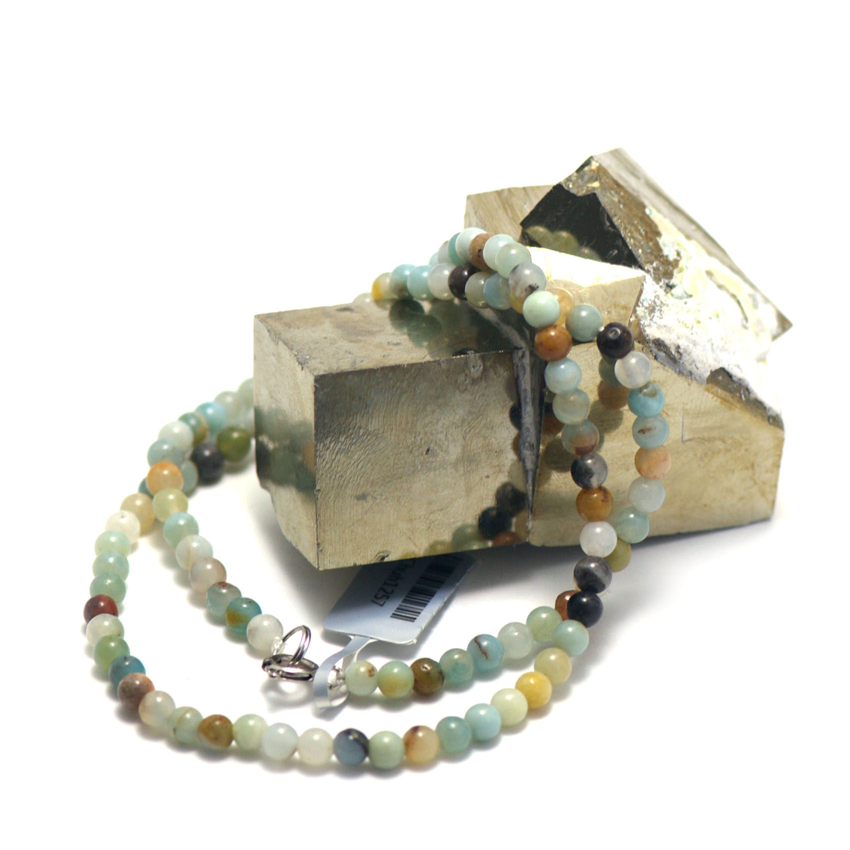 collier amazonite brut ,  perle ronde 4 mm