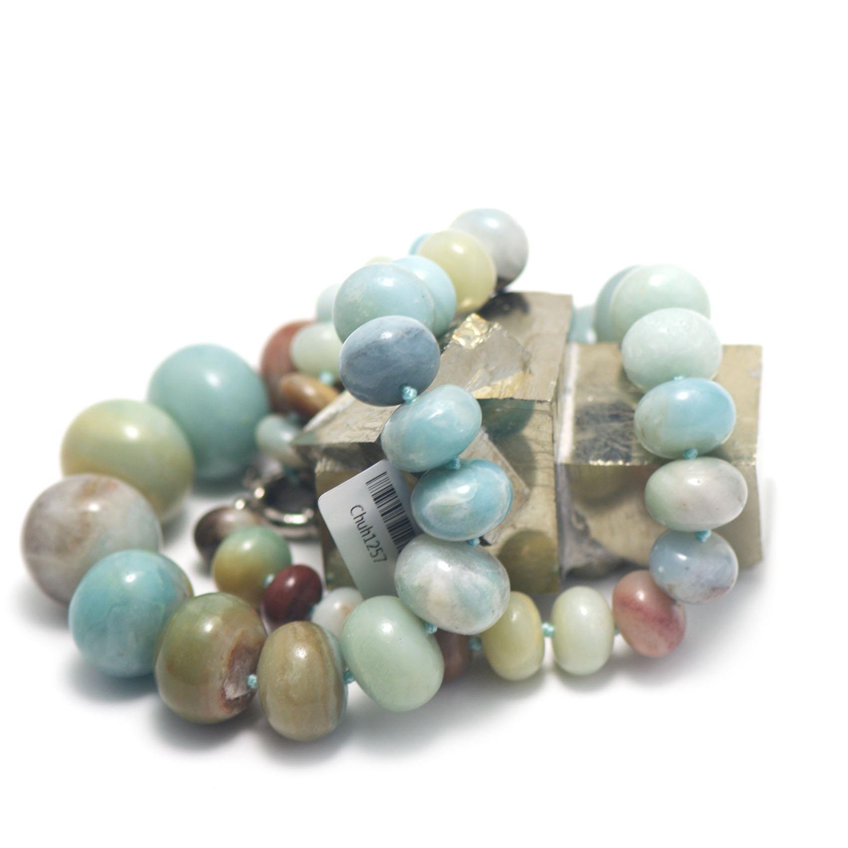 collier amazonite brut ,  chute de perle rondelle