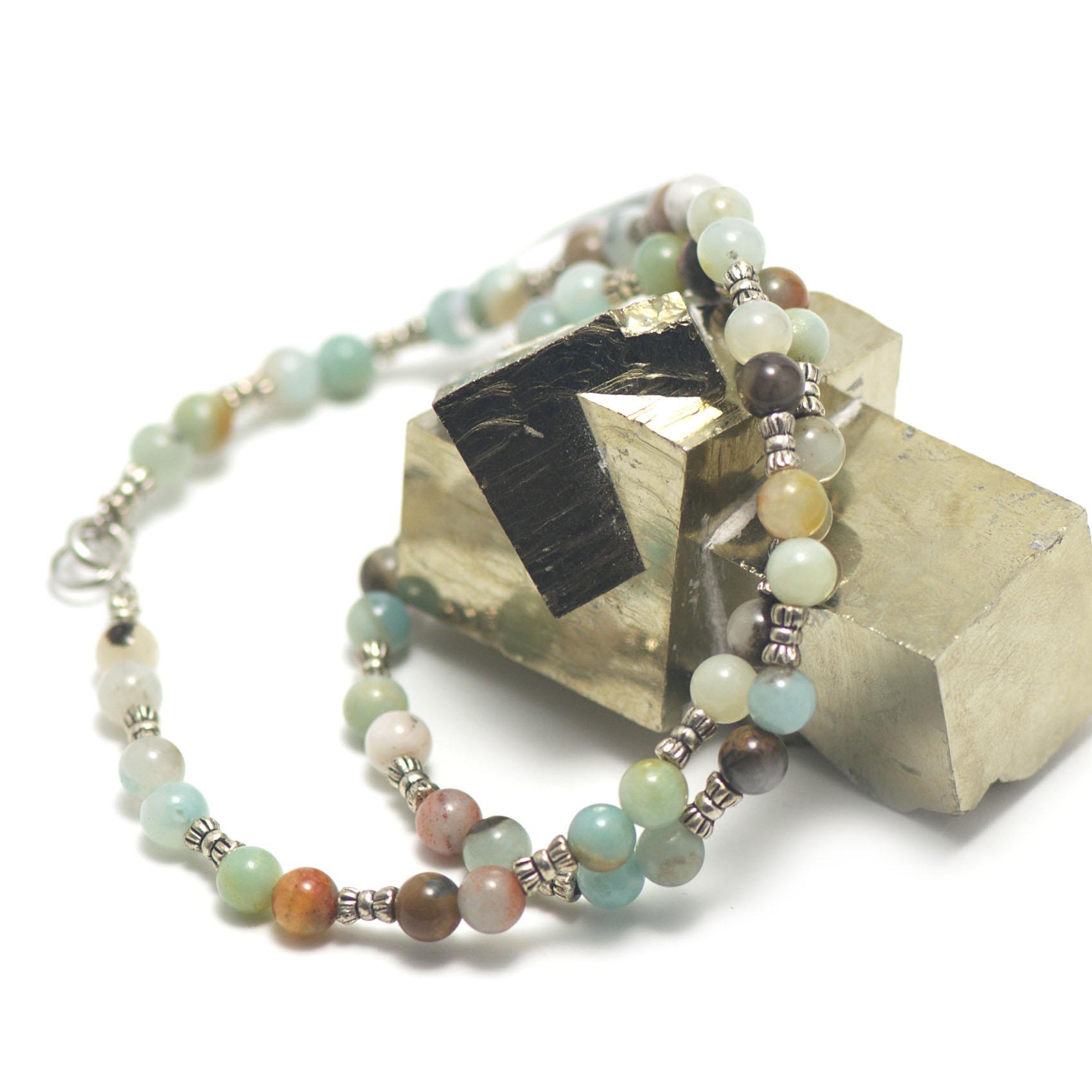 collier amazonite brut ,  perle ronde 6 mm - perle argentée