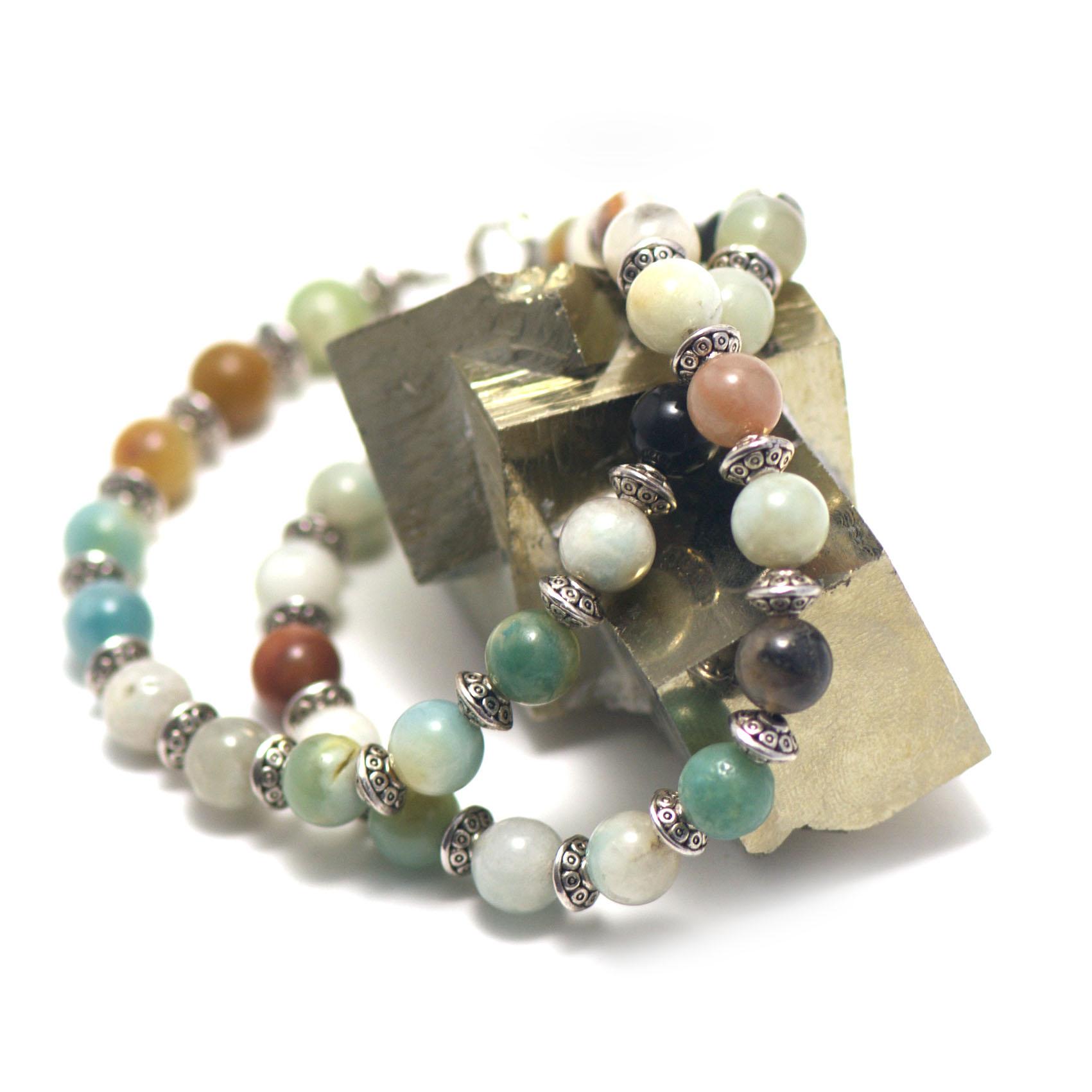 collier amazonite brut ,  perle ronde 8 mm - perle argentée