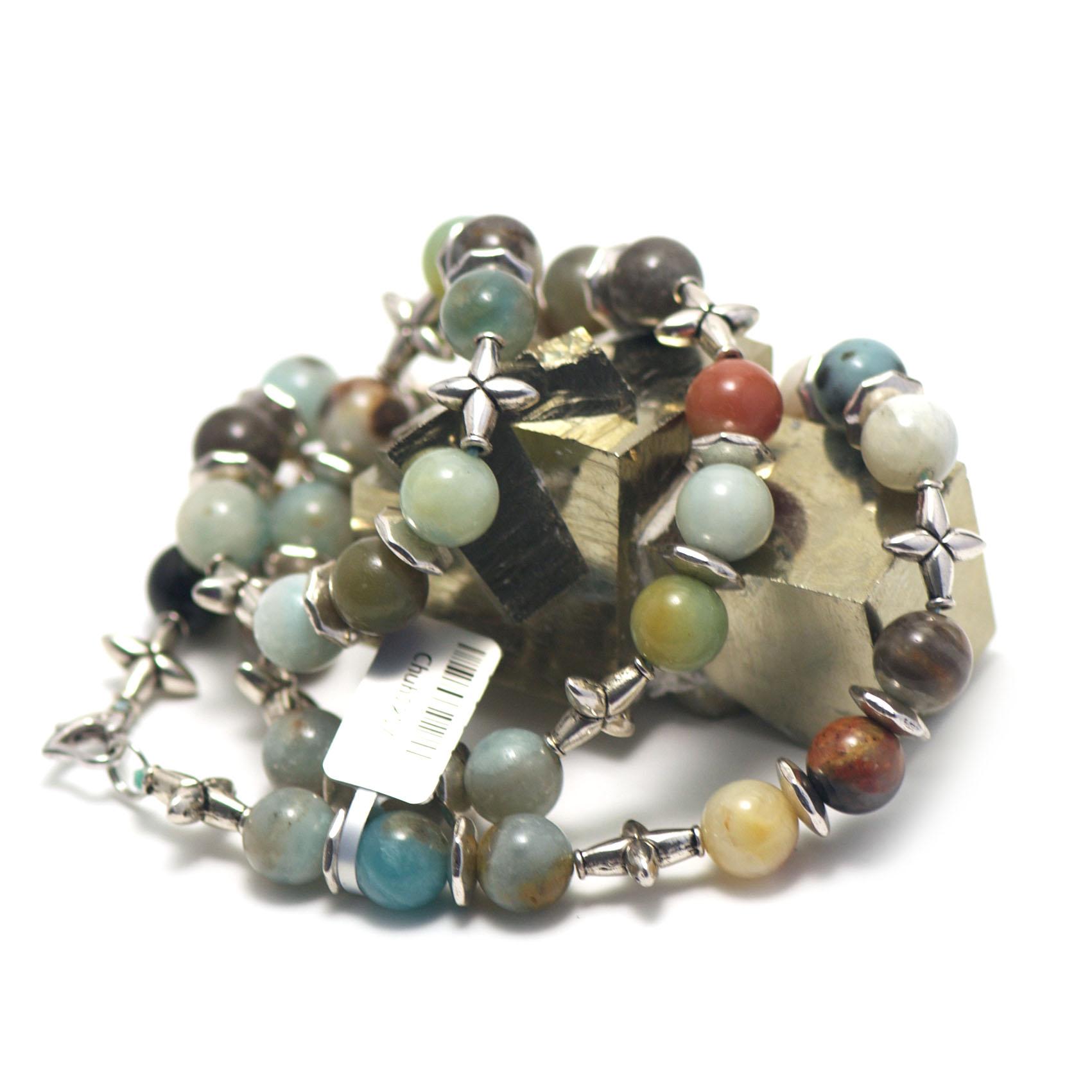 collier mi-long amazonite brut ,  perle ronde 10 mm - perle argentée