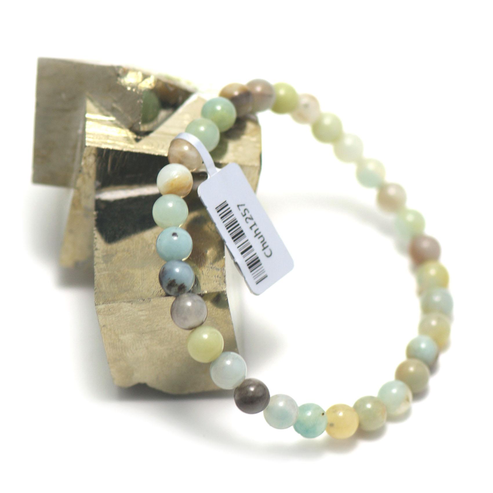 bracelet amazonite brut , perle ronde 6 mm