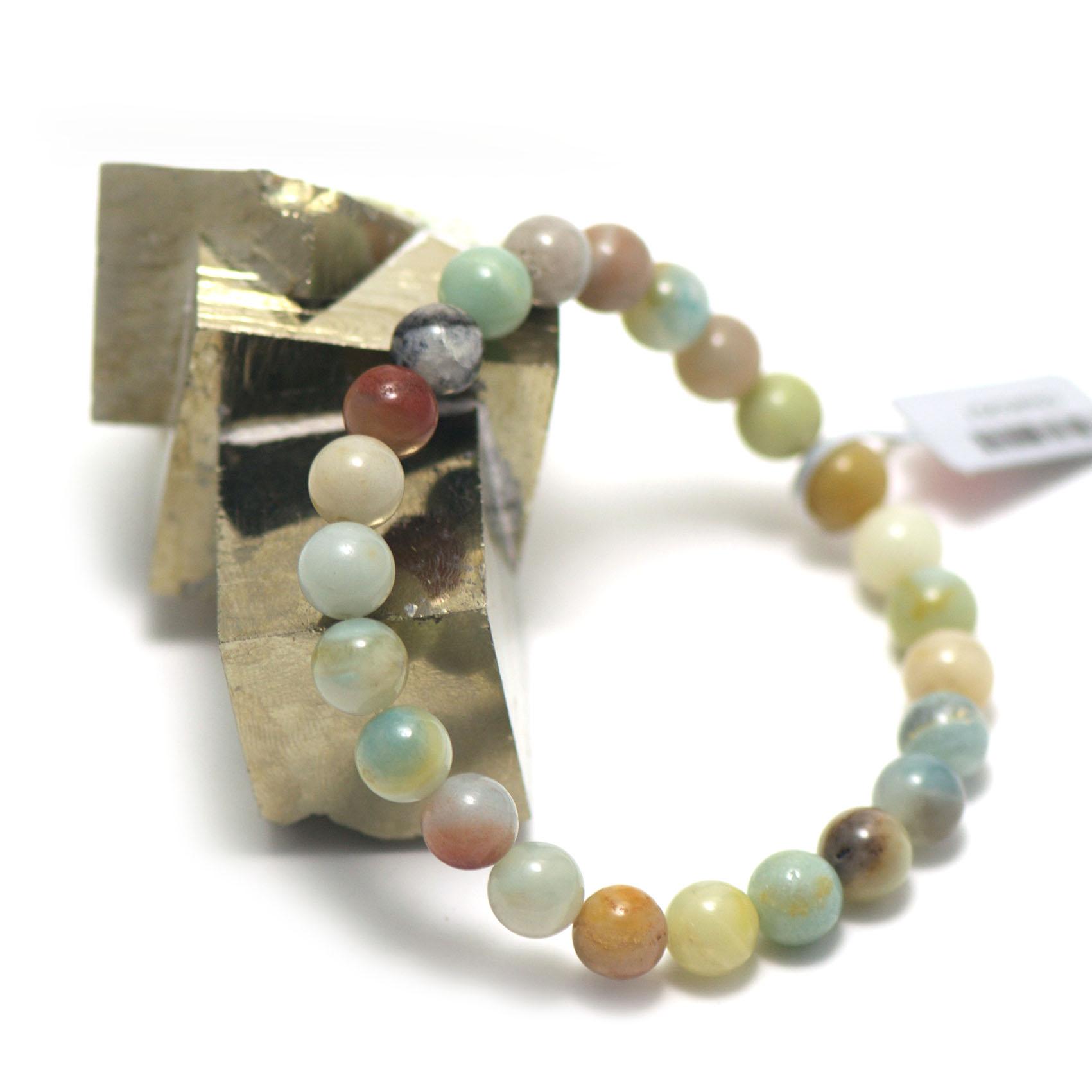 bracelet amazonite brut ,  perle ronde 8 mm