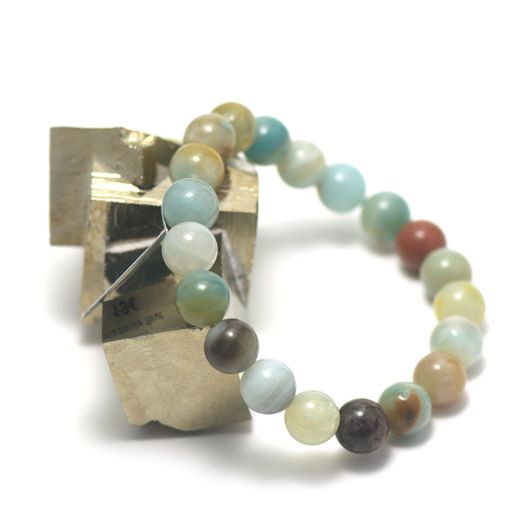 bracelet amazonite brut ,  perle ronde 10 mm