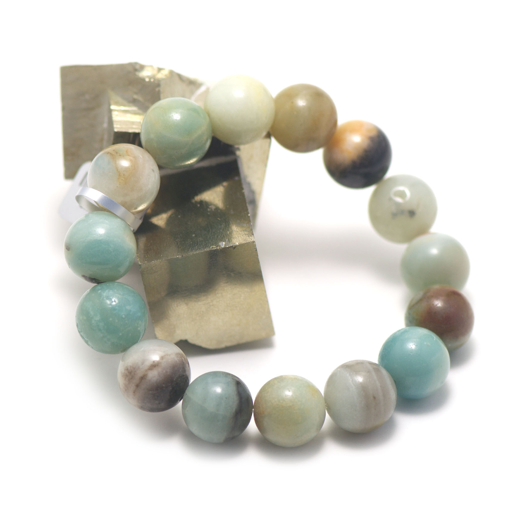 bracelet amazonite brut ,  perle ronde 14 mm
