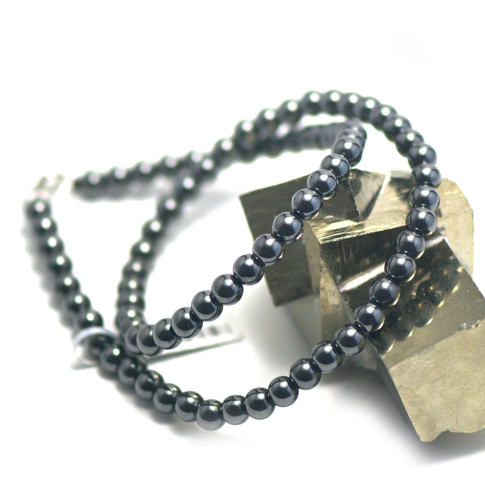Collier hématite ,  perle ronde 6 mm