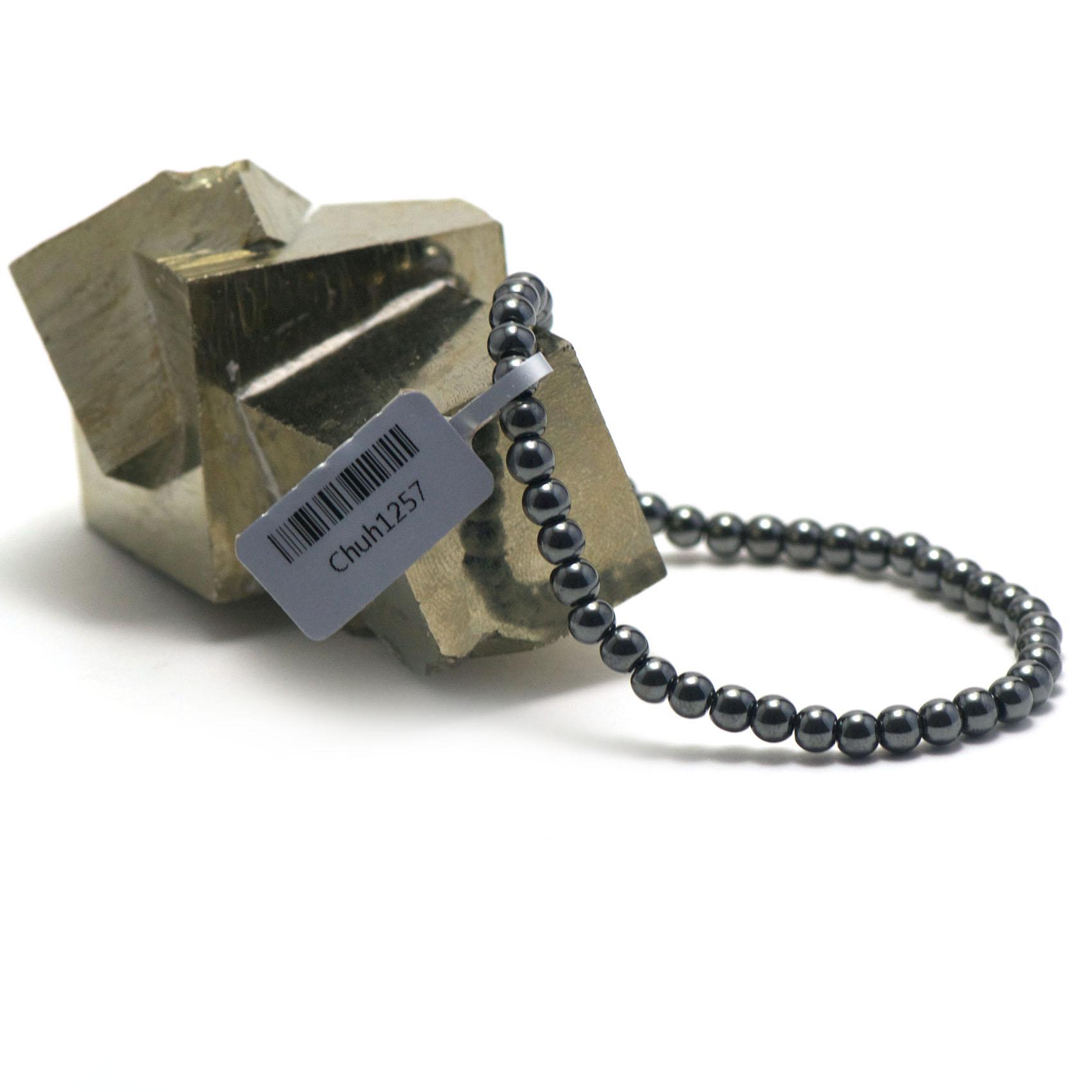 bracelet hématite ,  perle ronde 4 mm