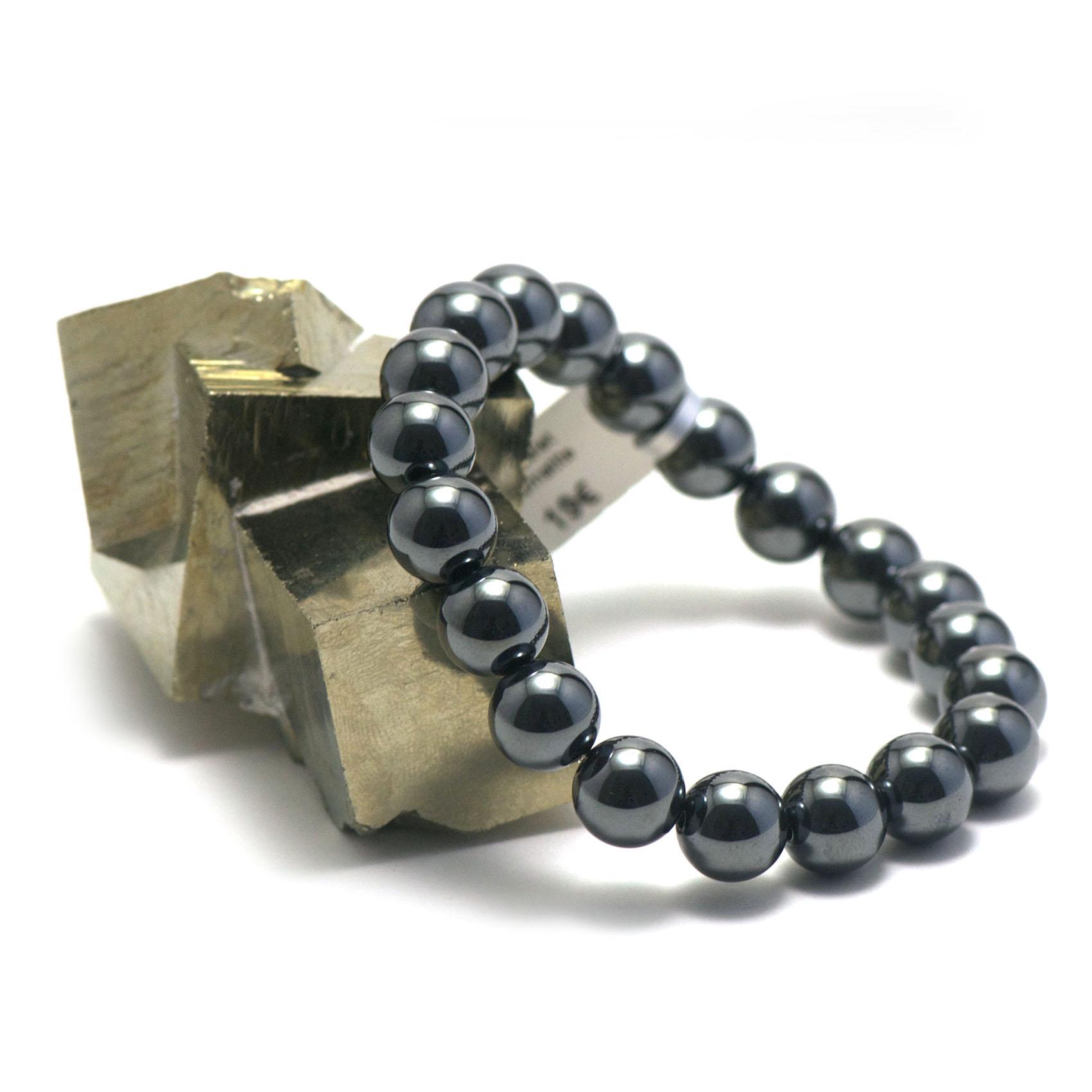 bracelet hématite ,  perle ronde 10 mm